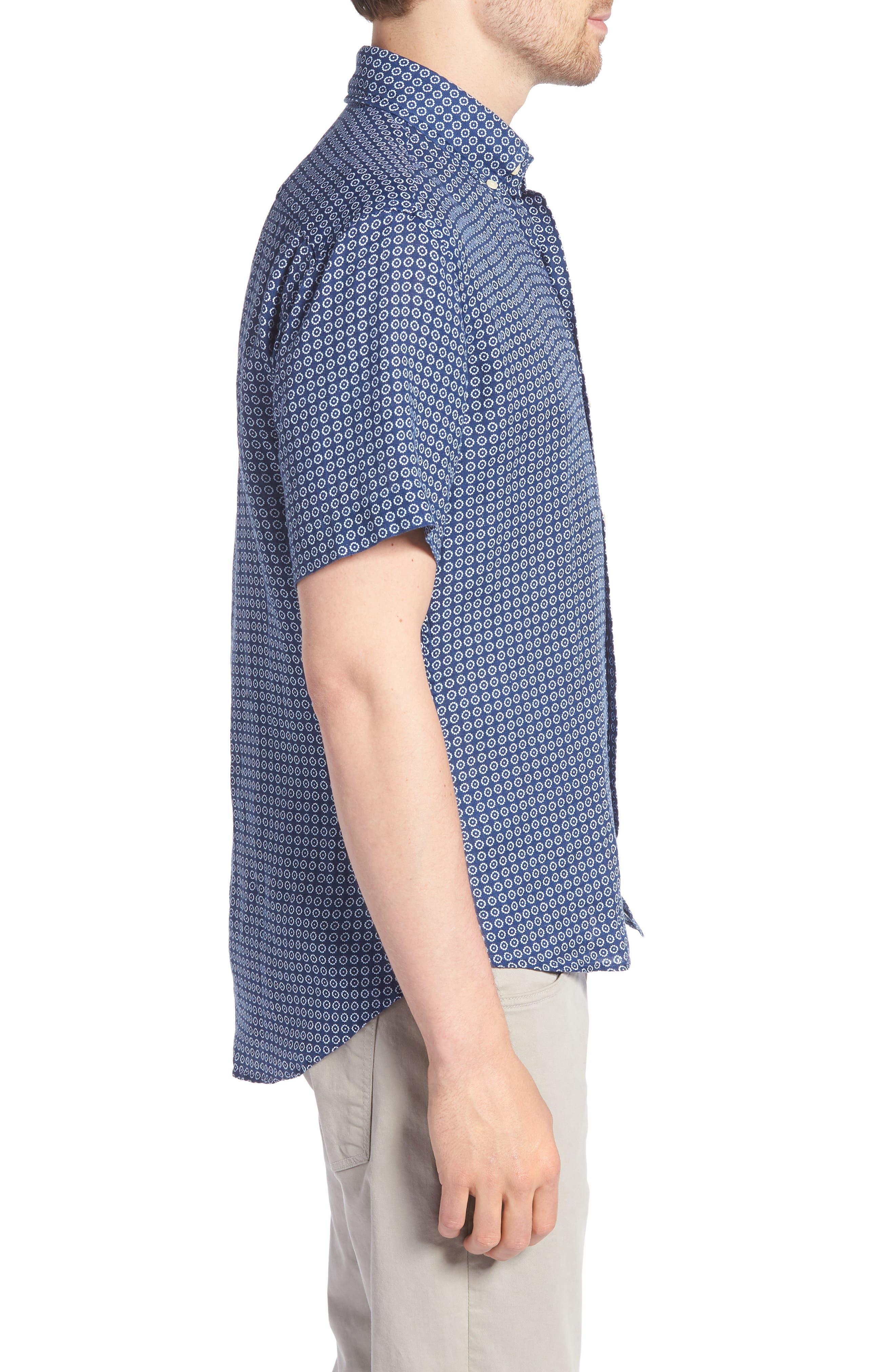 Windham Print Classic Fit Linen Sport Shirt,                             Alternate thumbnail 4, color,                             Navy
