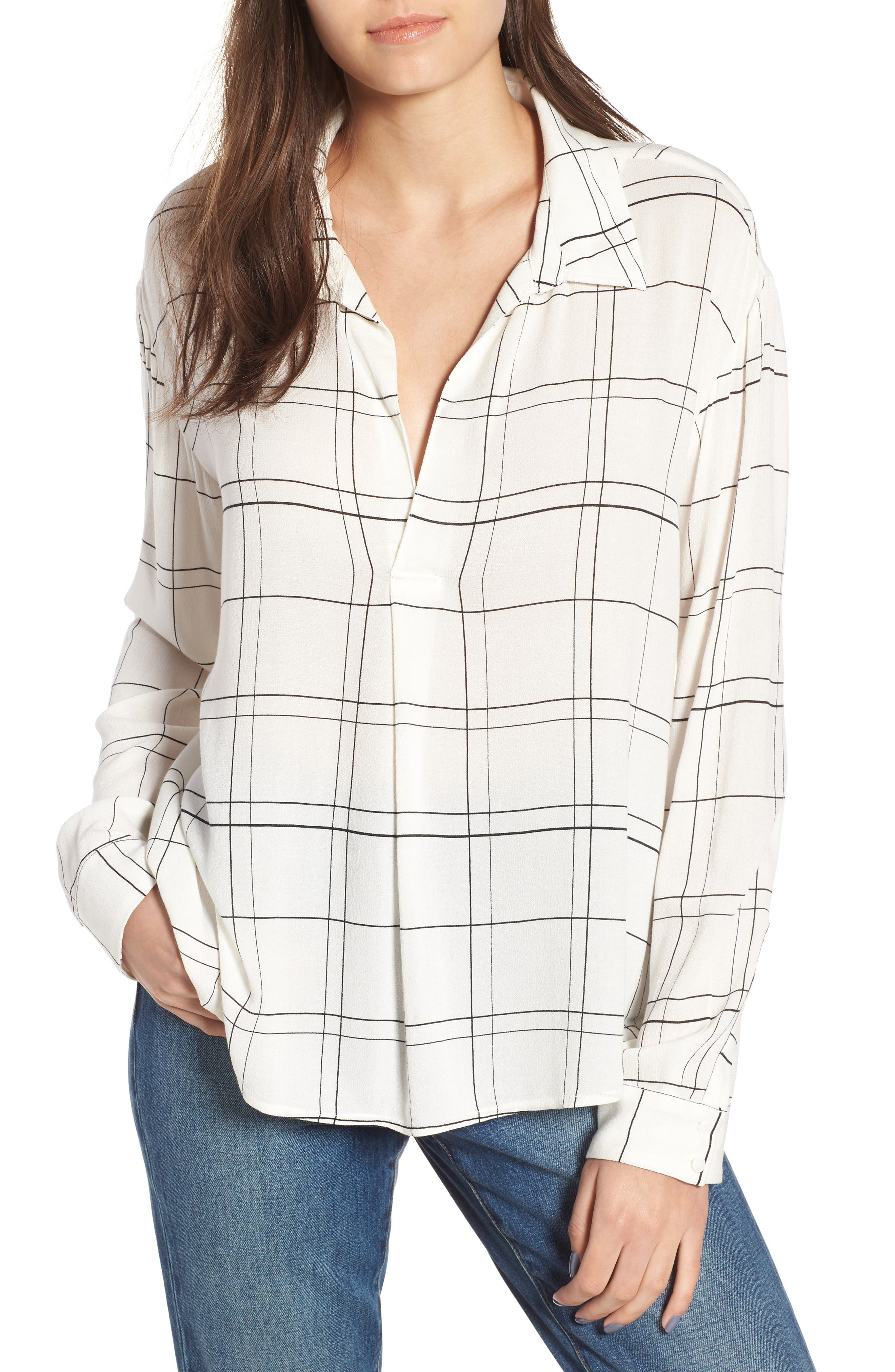 Henley Woven Shirt,                         Main,                         color, Ivory Glam City Check
