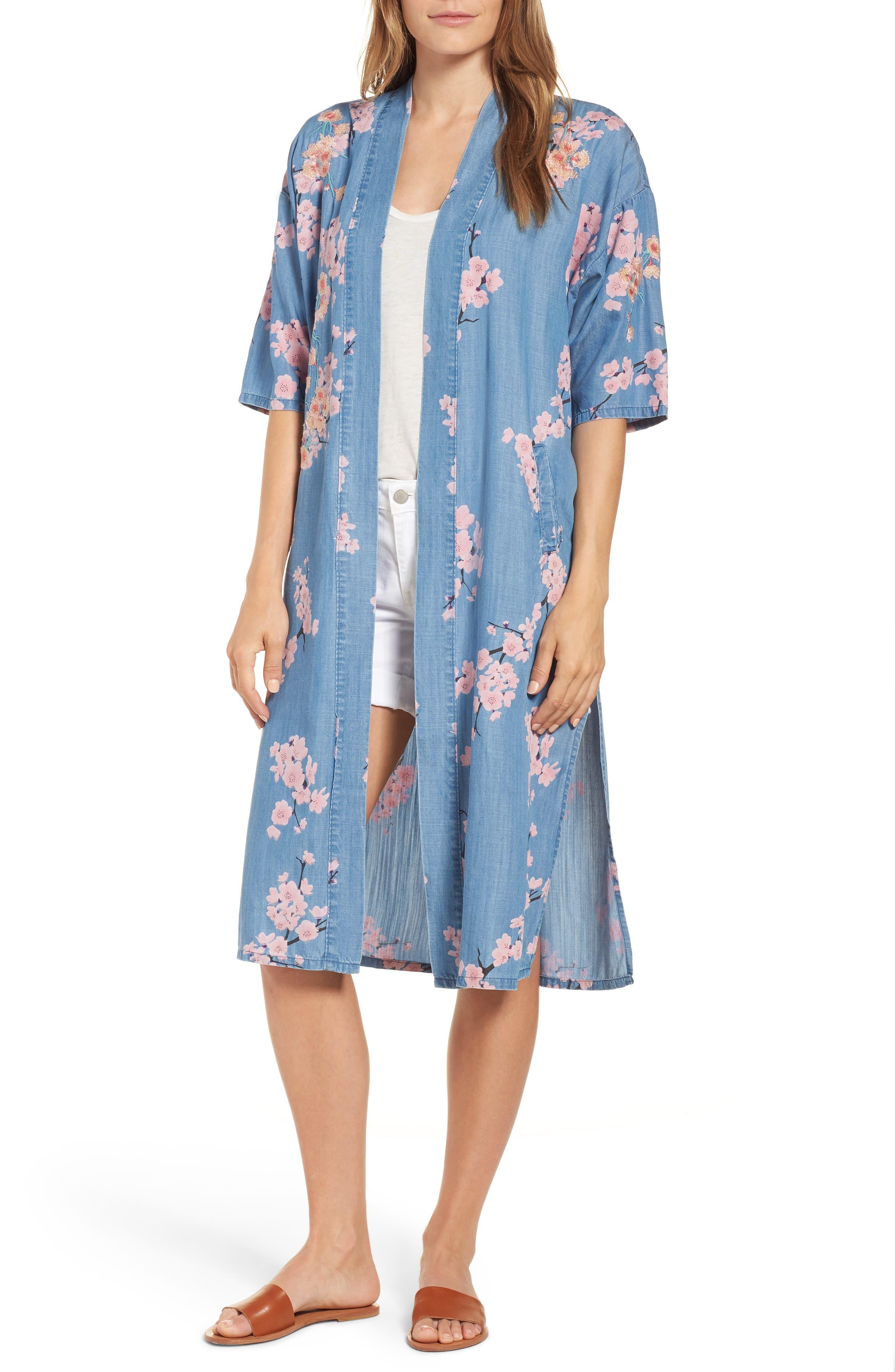 Cherry Blossom Kimono,                             Main thumbnail 1, color,                             Blue Cherry Blossom