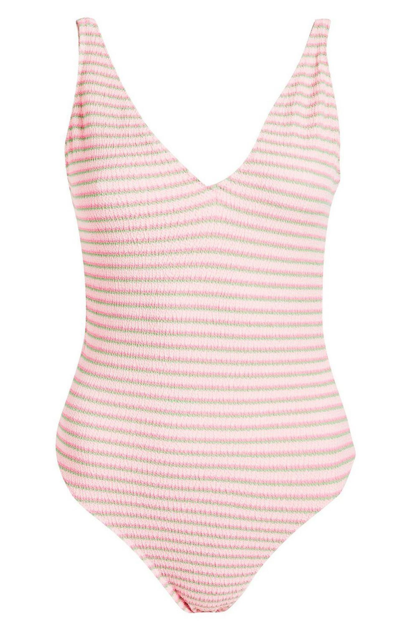 Shirred One-Piece Swimsuit,                             Alternate thumbnail 4, color,                             Pink Multi