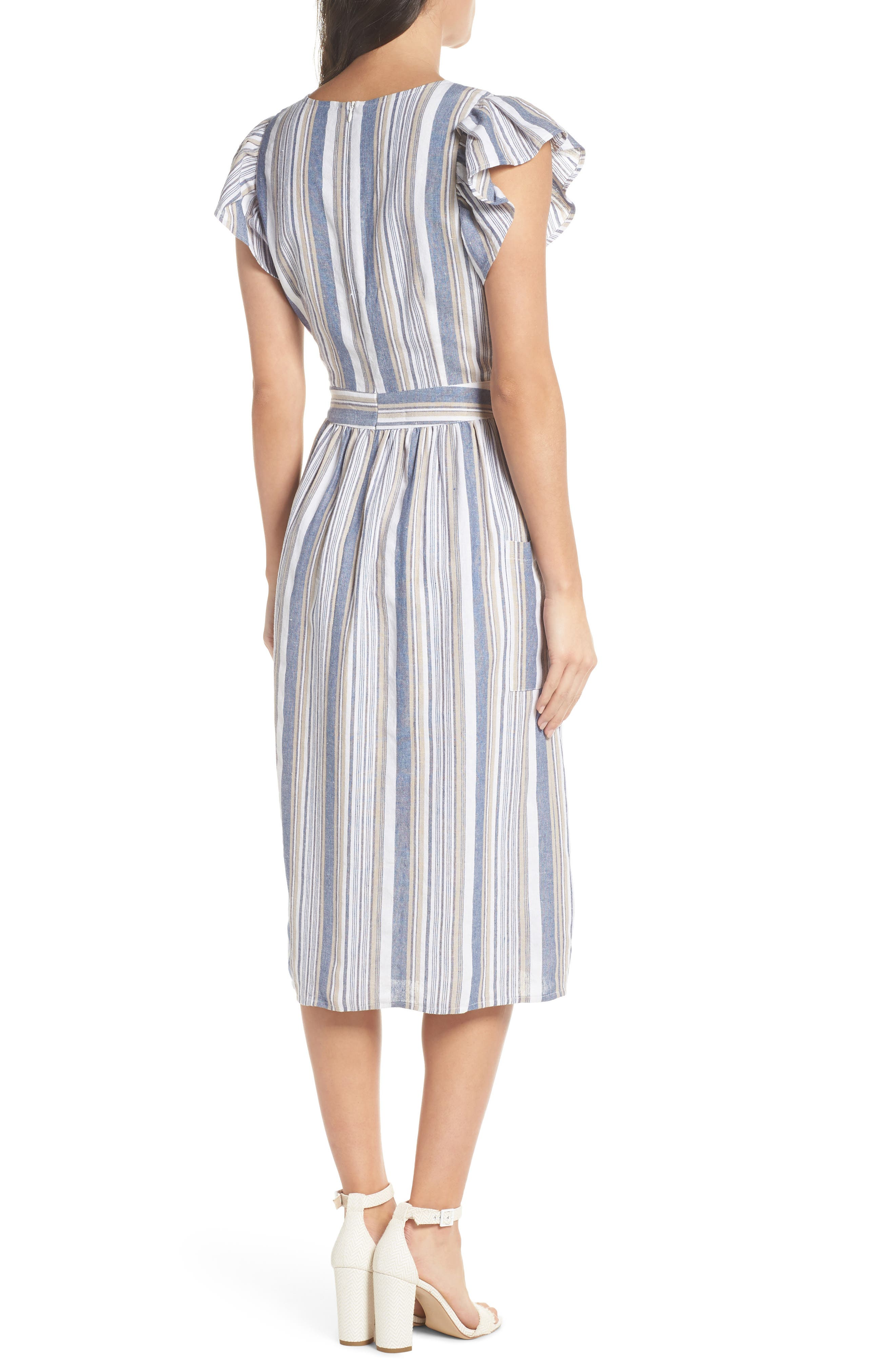 Stripe Button Front Fit & Flare Midi Dress,                             Alternate thumbnail 2, color,                             Blue Multi