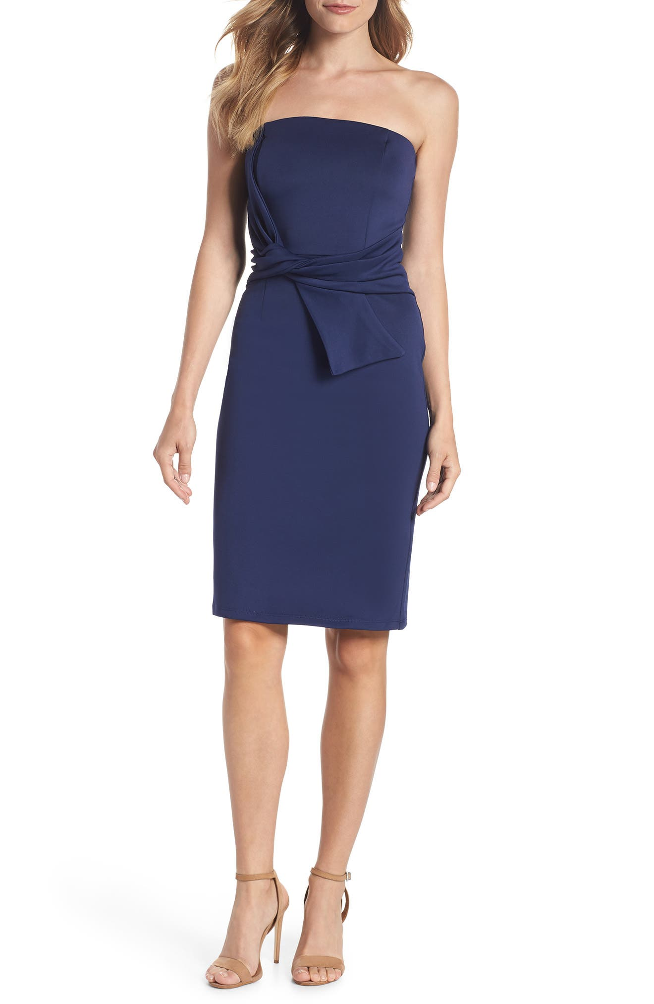 Strapless Tie Front Sheath Dress,                         Main,                         color, Navy