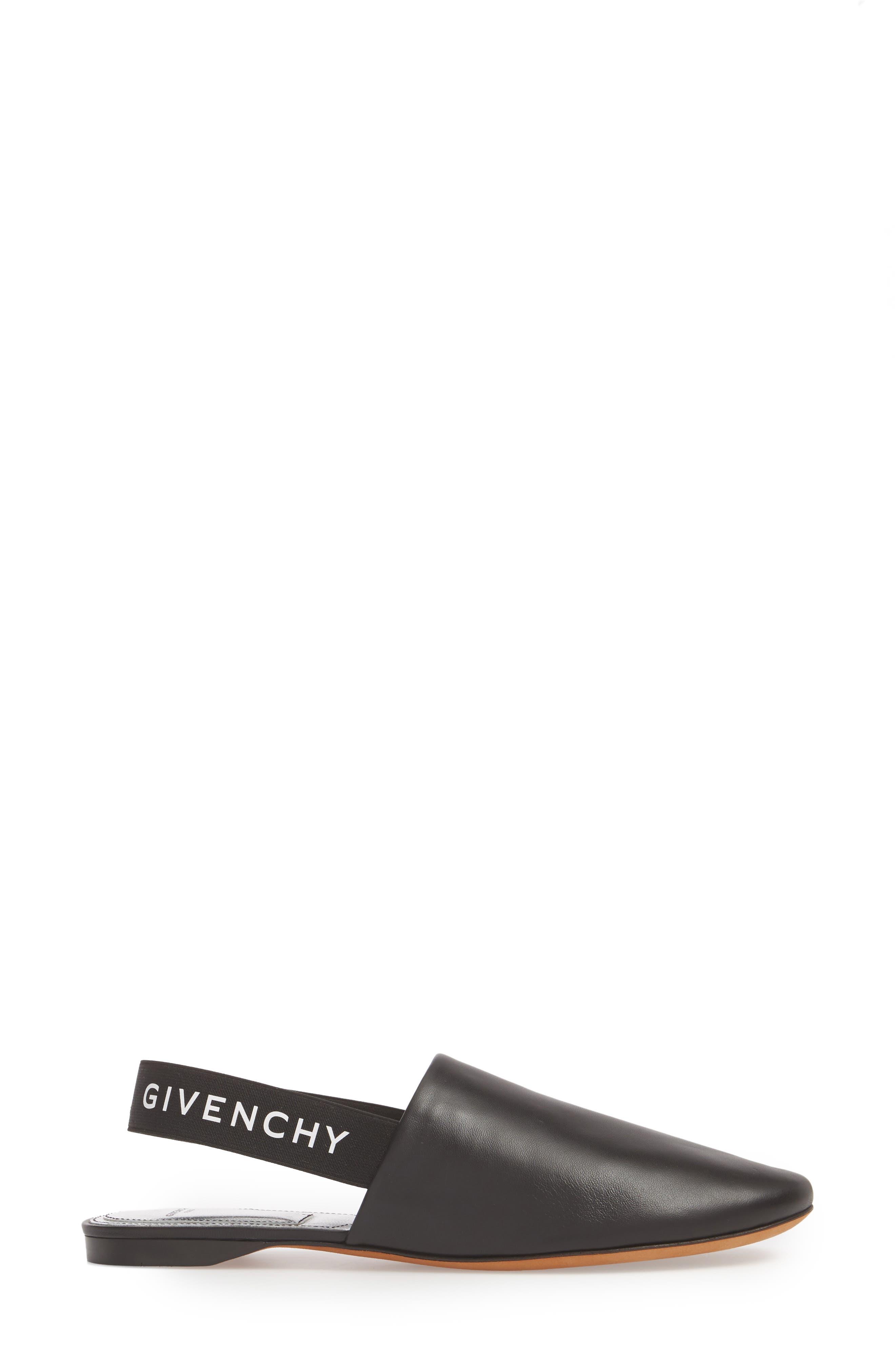 Rivington Logo Slingback Mule,                             Alternate thumbnail 3, color,                             Black/ Silver