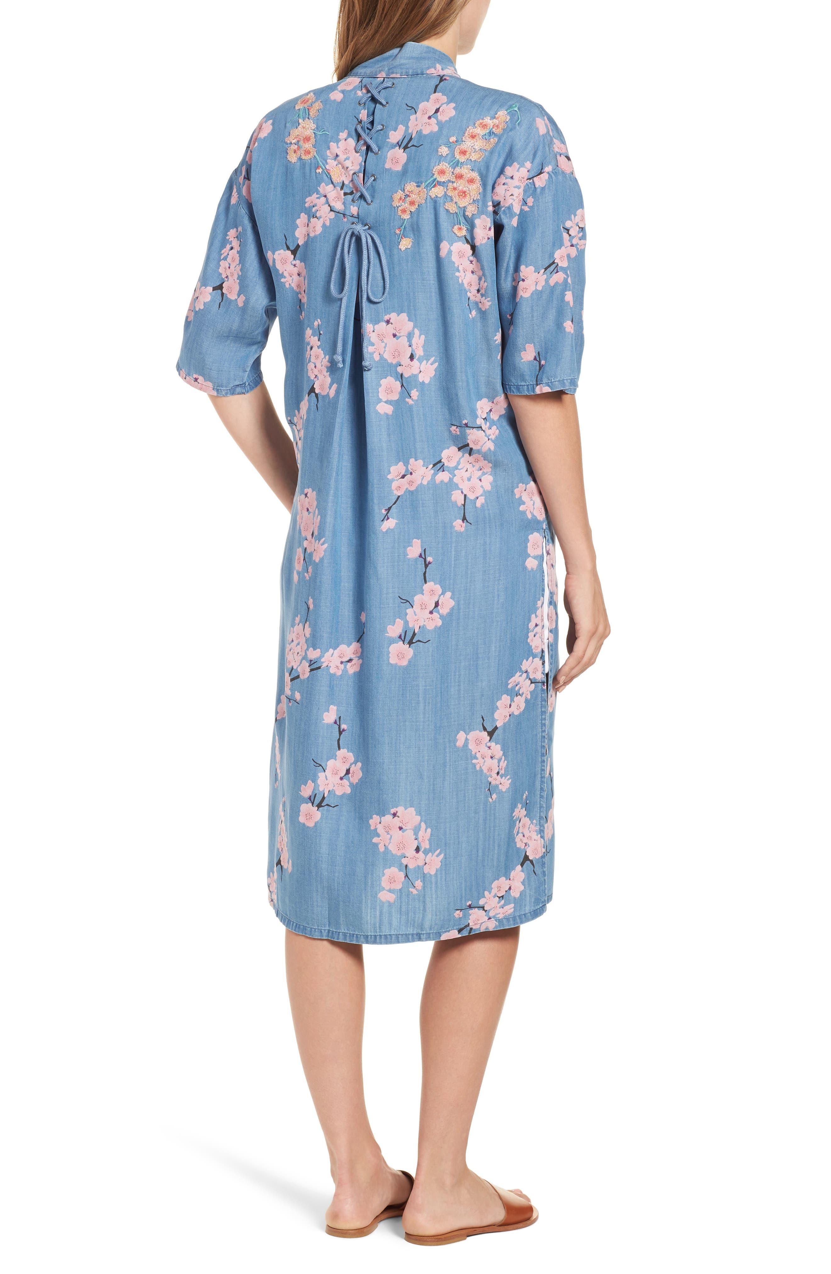 Cherry Blossom Kimono,                             Alternate thumbnail 2, color,                             Blue Cherry Blossom
