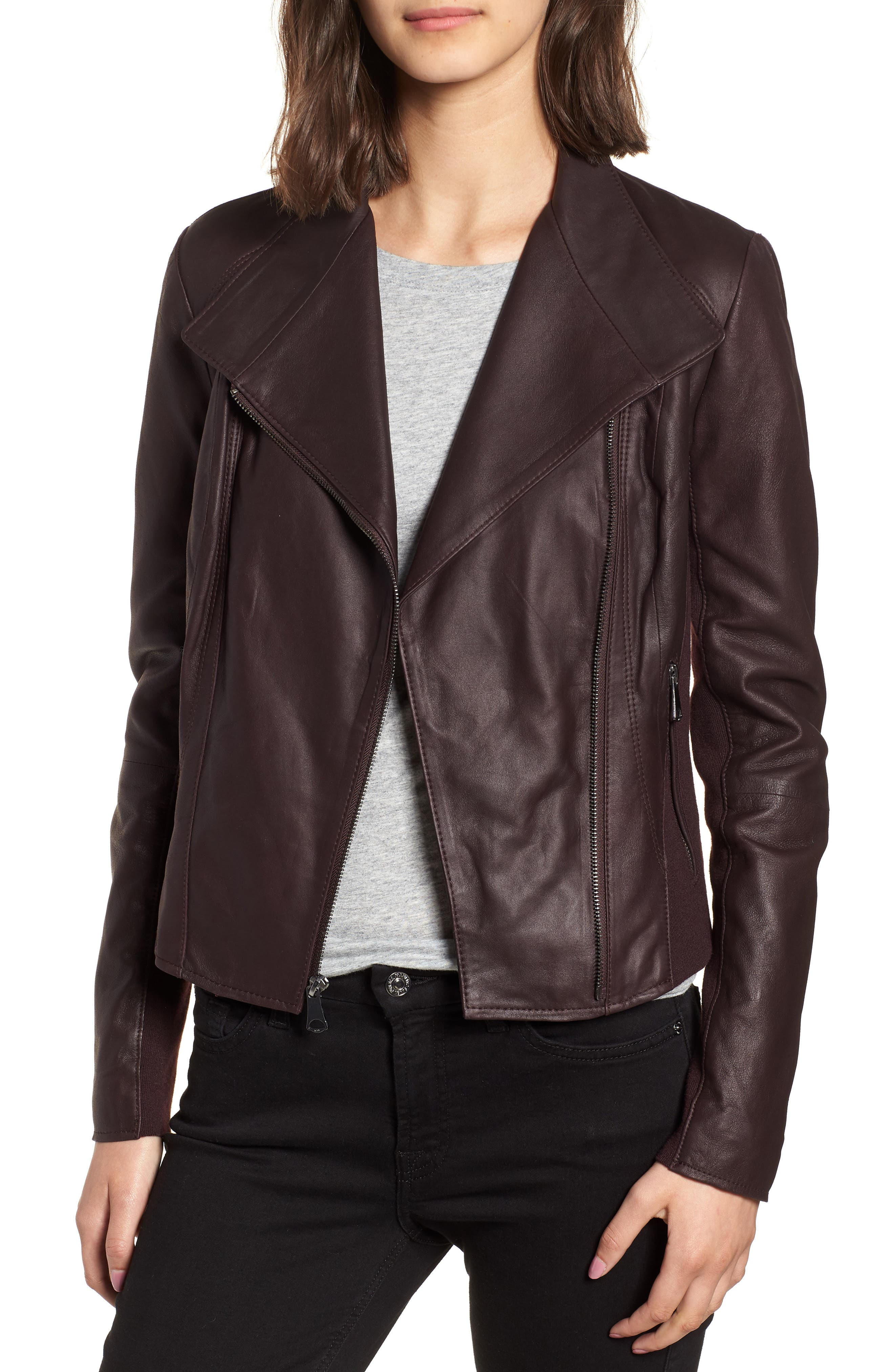 Marc New York by Andrew Marc 'Felix' Stand Collar Leather Jacket,                             Main thumbnail 1, color,                             Burgundy