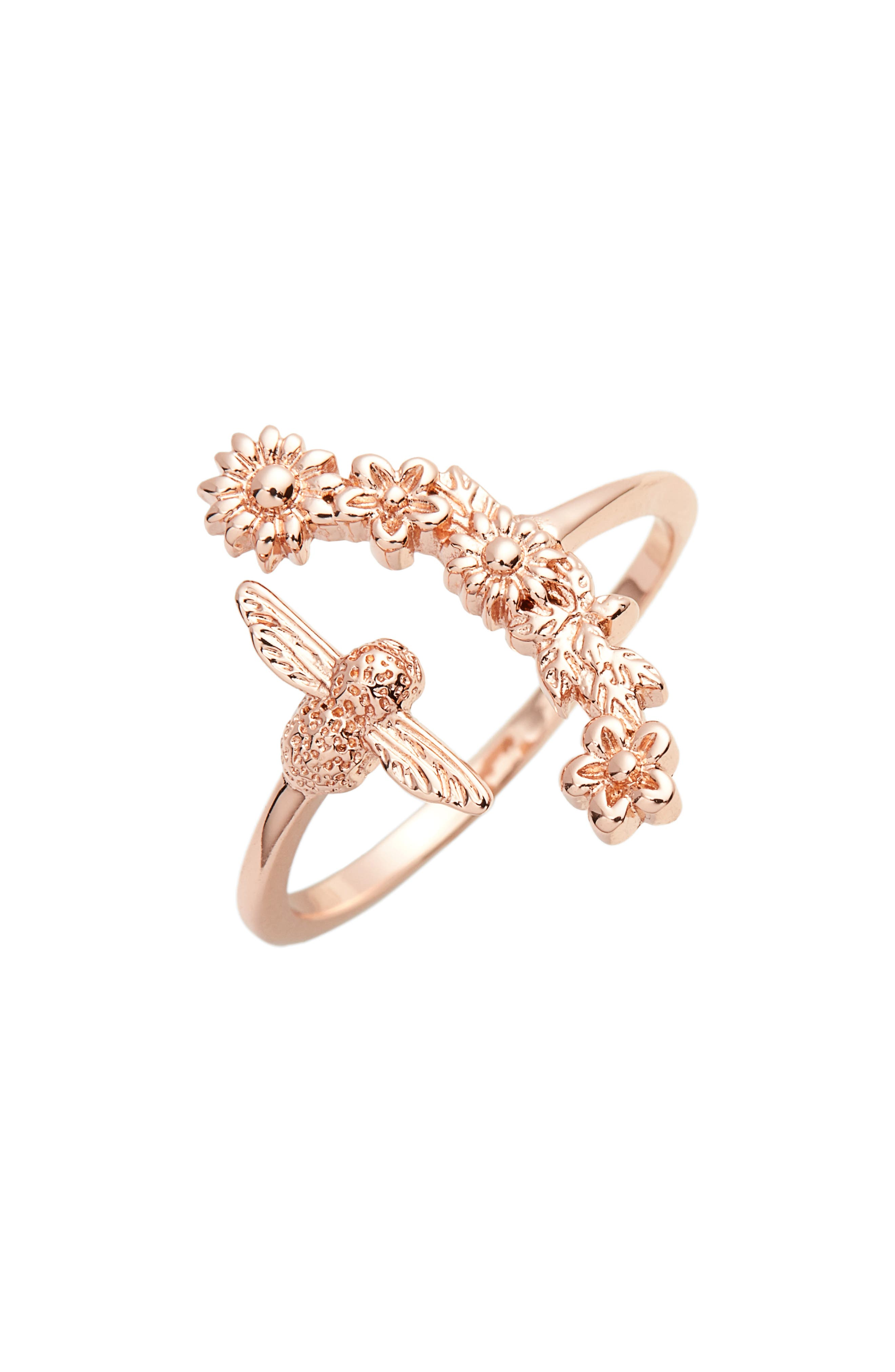 Bee Blooms Ring,                         Main,                         color, Rose Gold