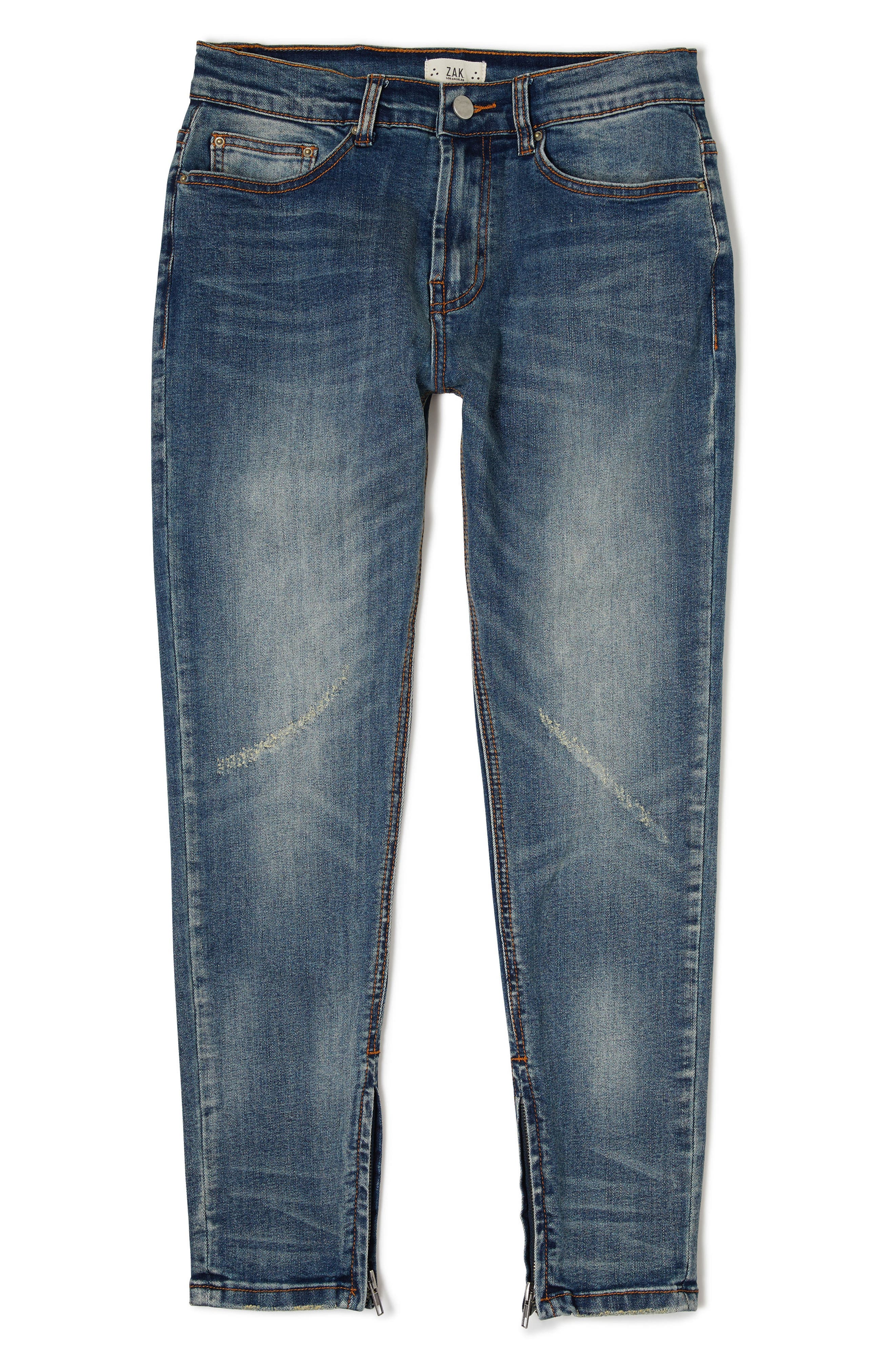 Sand Blasted Moto Skinny Jeans,                         Main,                         color, Dark Wash Denim