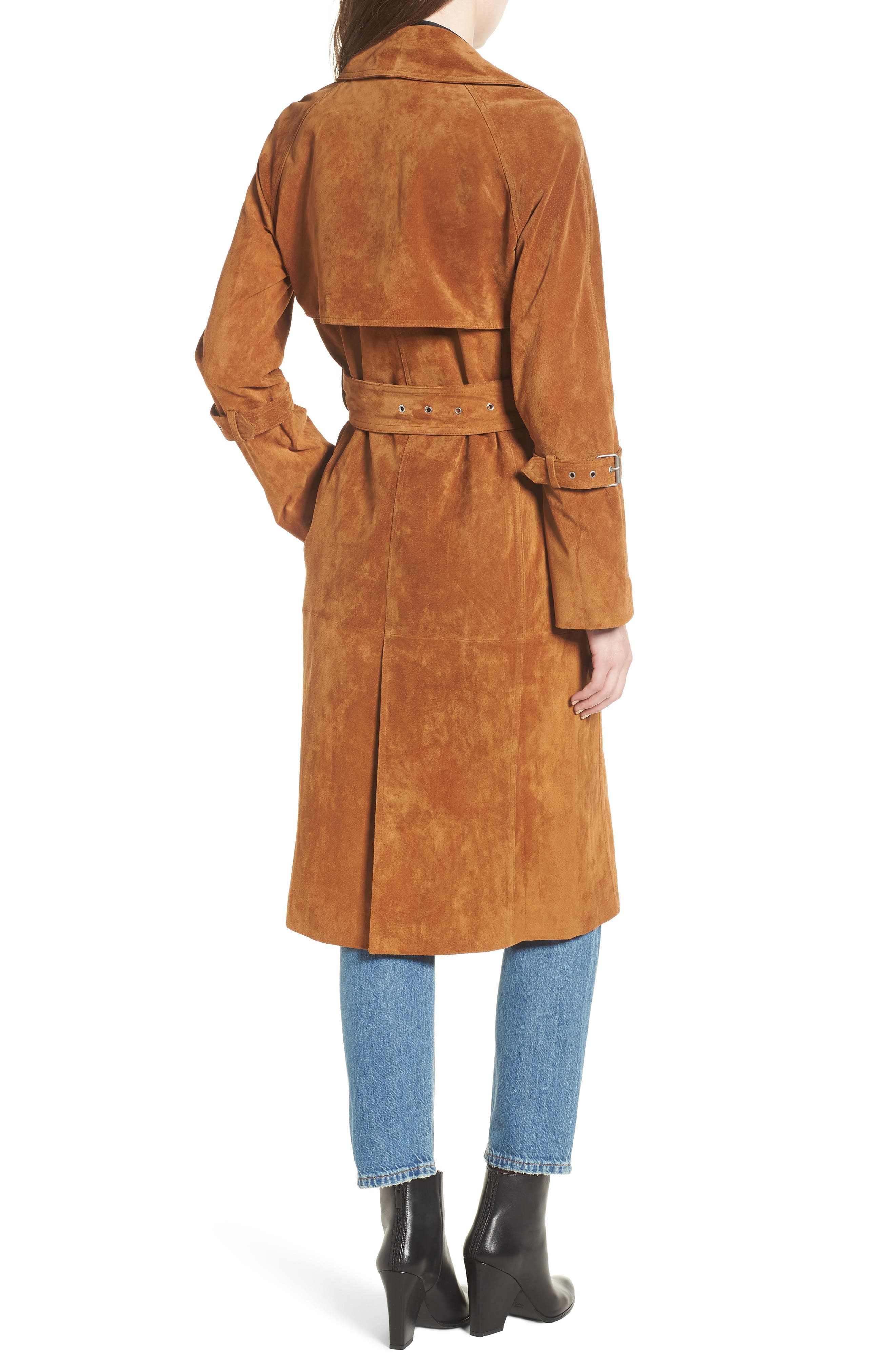 Genuine Suede Trench Coat,                             Alternate thumbnail 2, color,                             Brandy