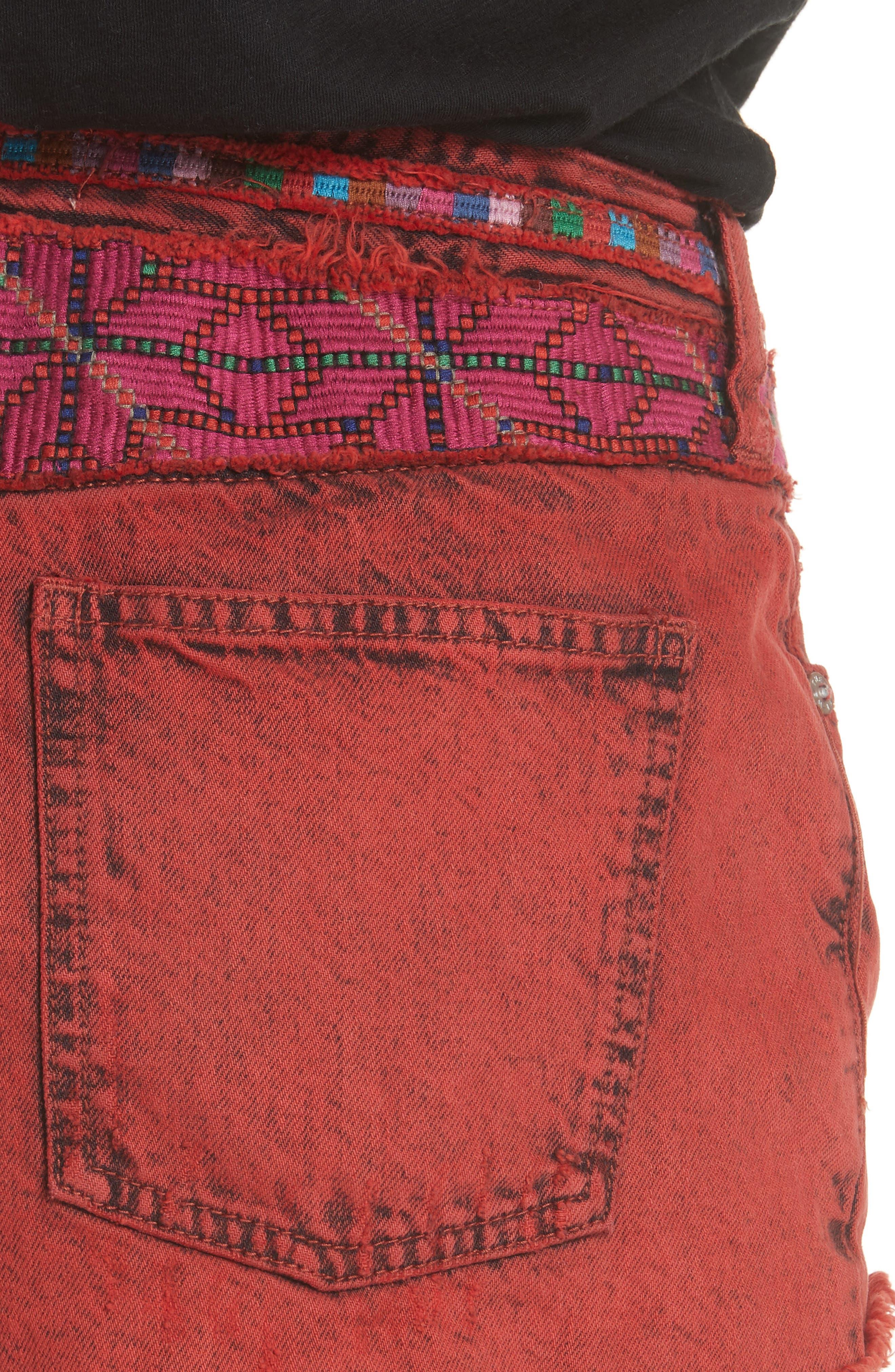 Sun Break Embellished Cutoff Shorts,                             Alternate thumbnail 4, color,                             Red