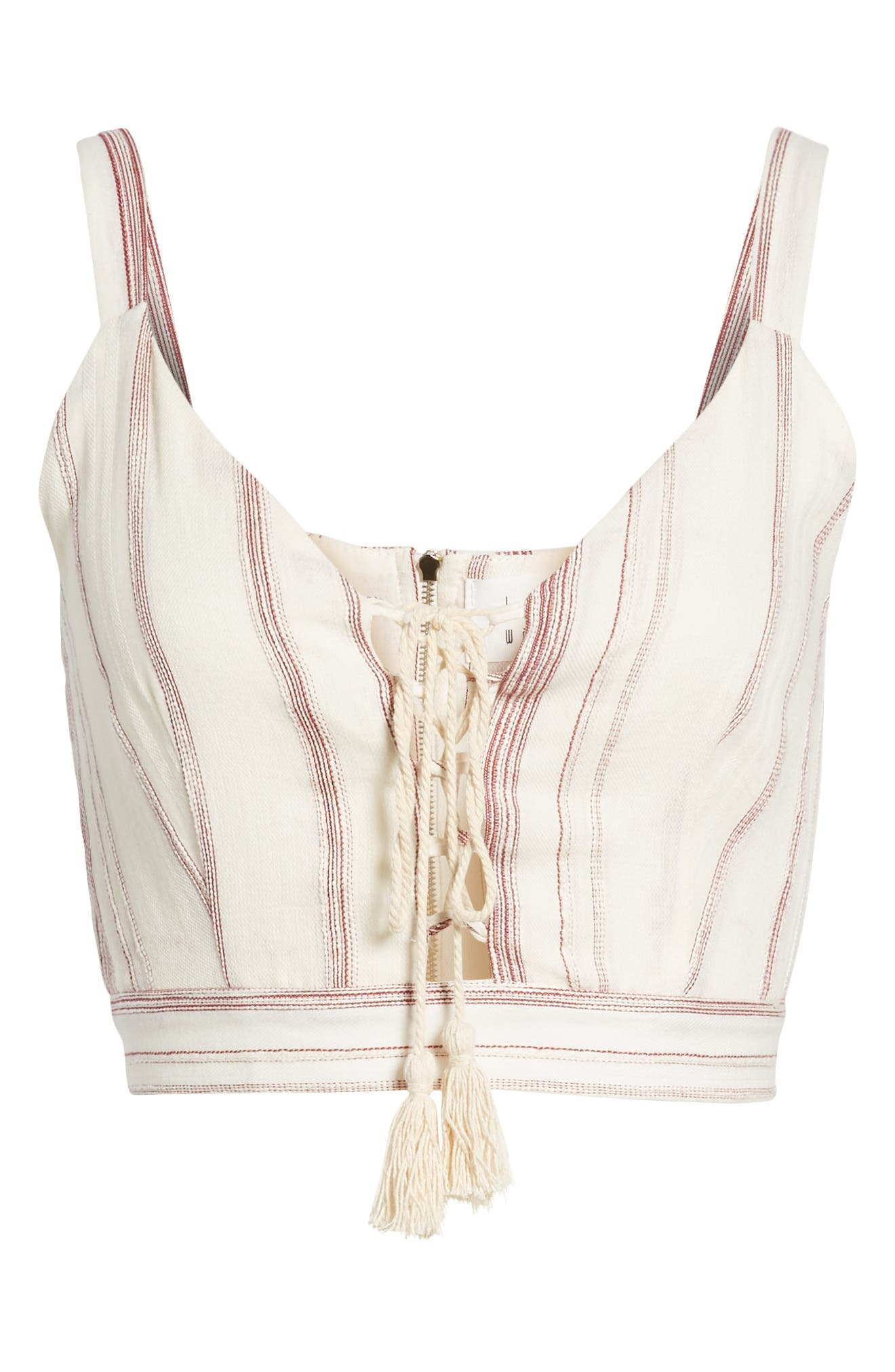 Mariana Stripe Lace-Up Crop Top,                             Alternate thumbnail 8, color,                             Red/ Natural