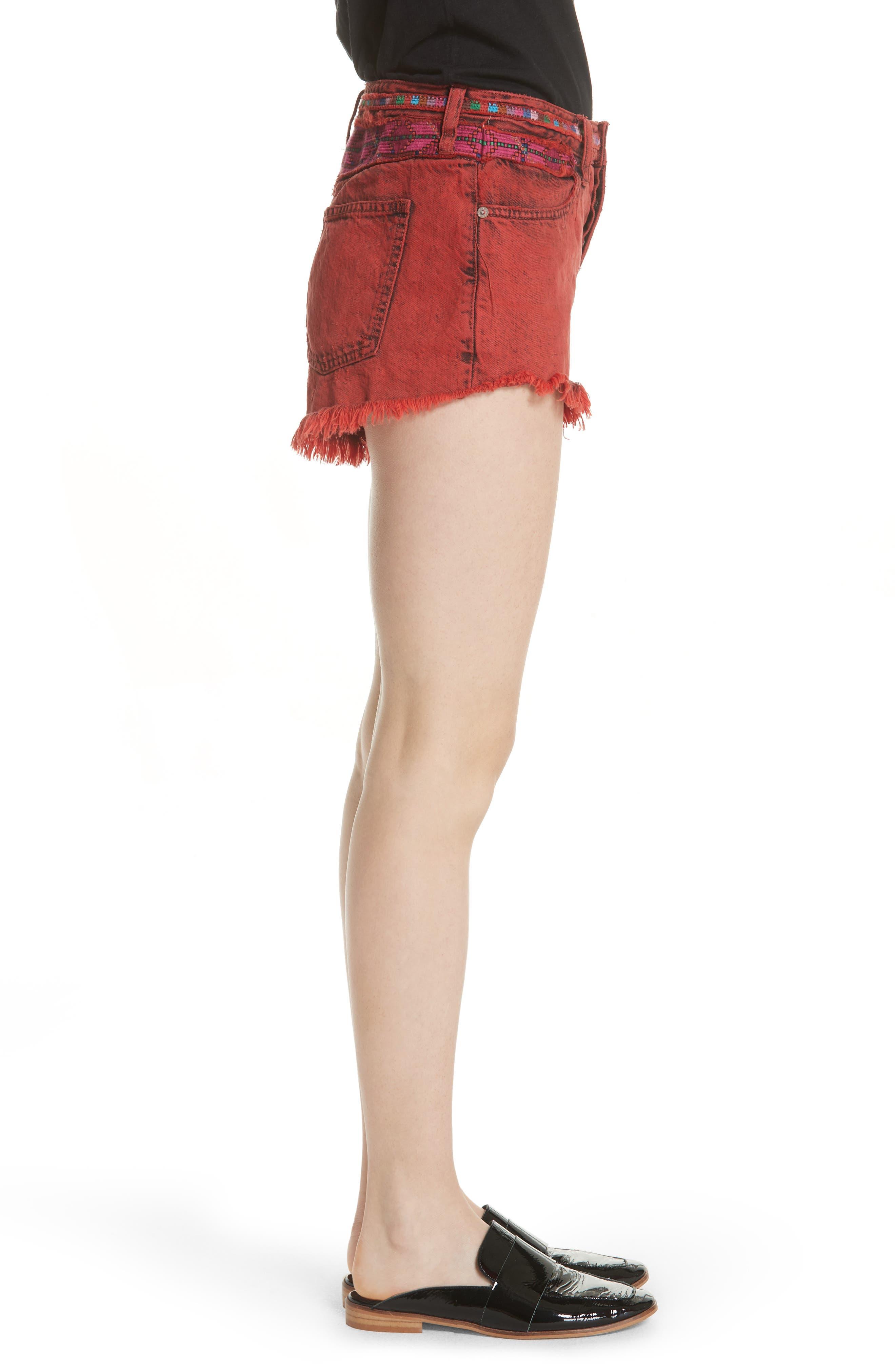 Sun Break Embellished Cutoff Shorts,                             Alternate thumbnail 3, color,                             Red