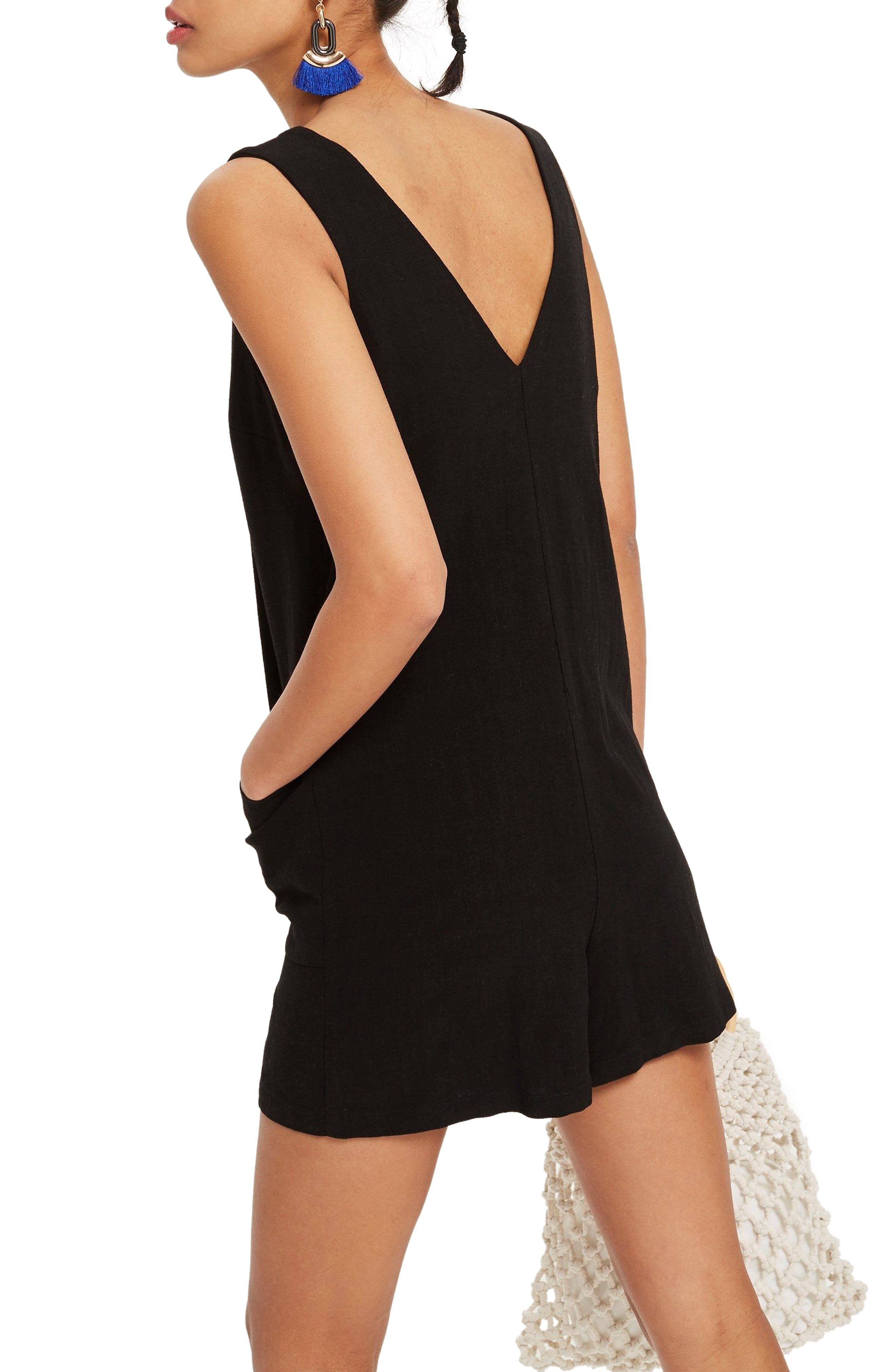 Sleeveless Button Romper,                             Alternate thumbnail 2, color,                             Black