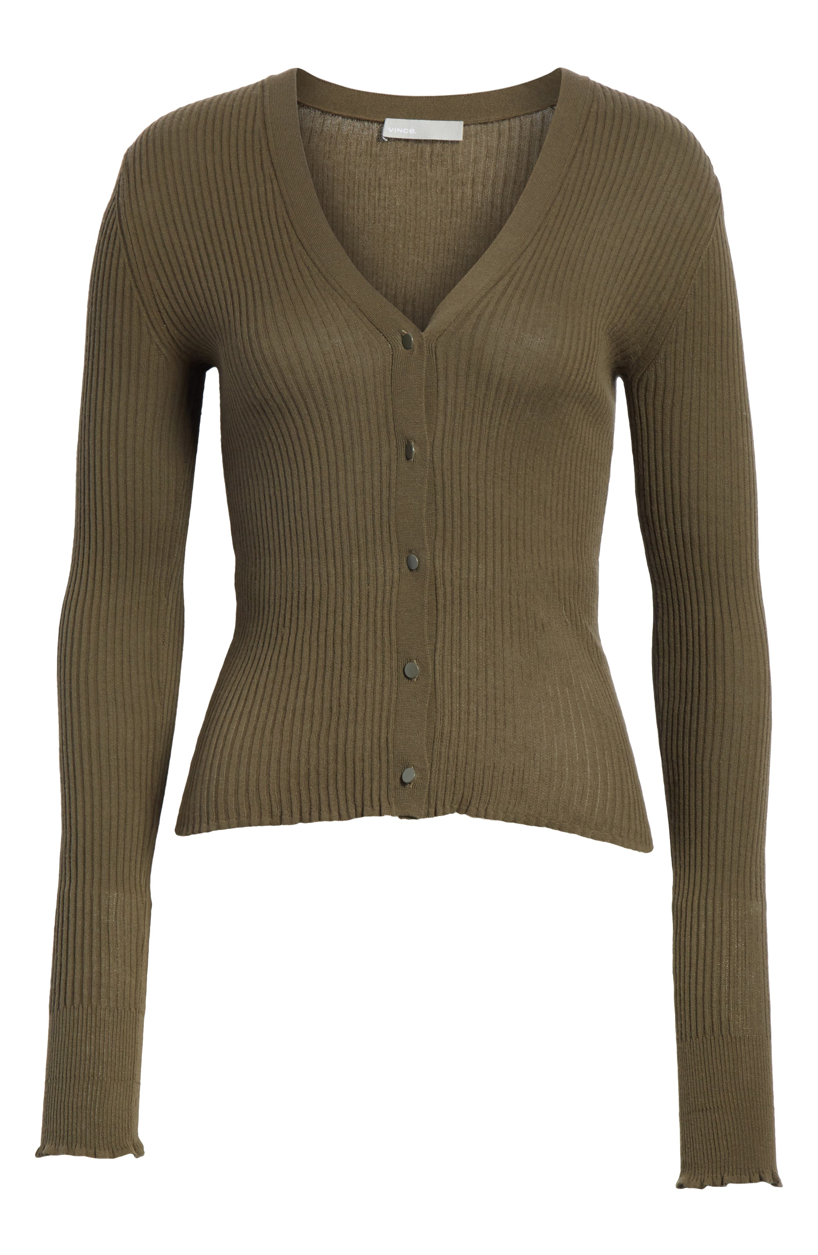 Ribbed Lettuce Cuff Cotton Cardigan,                             Alternate thumbnail 6, color,                             Bayleaf
