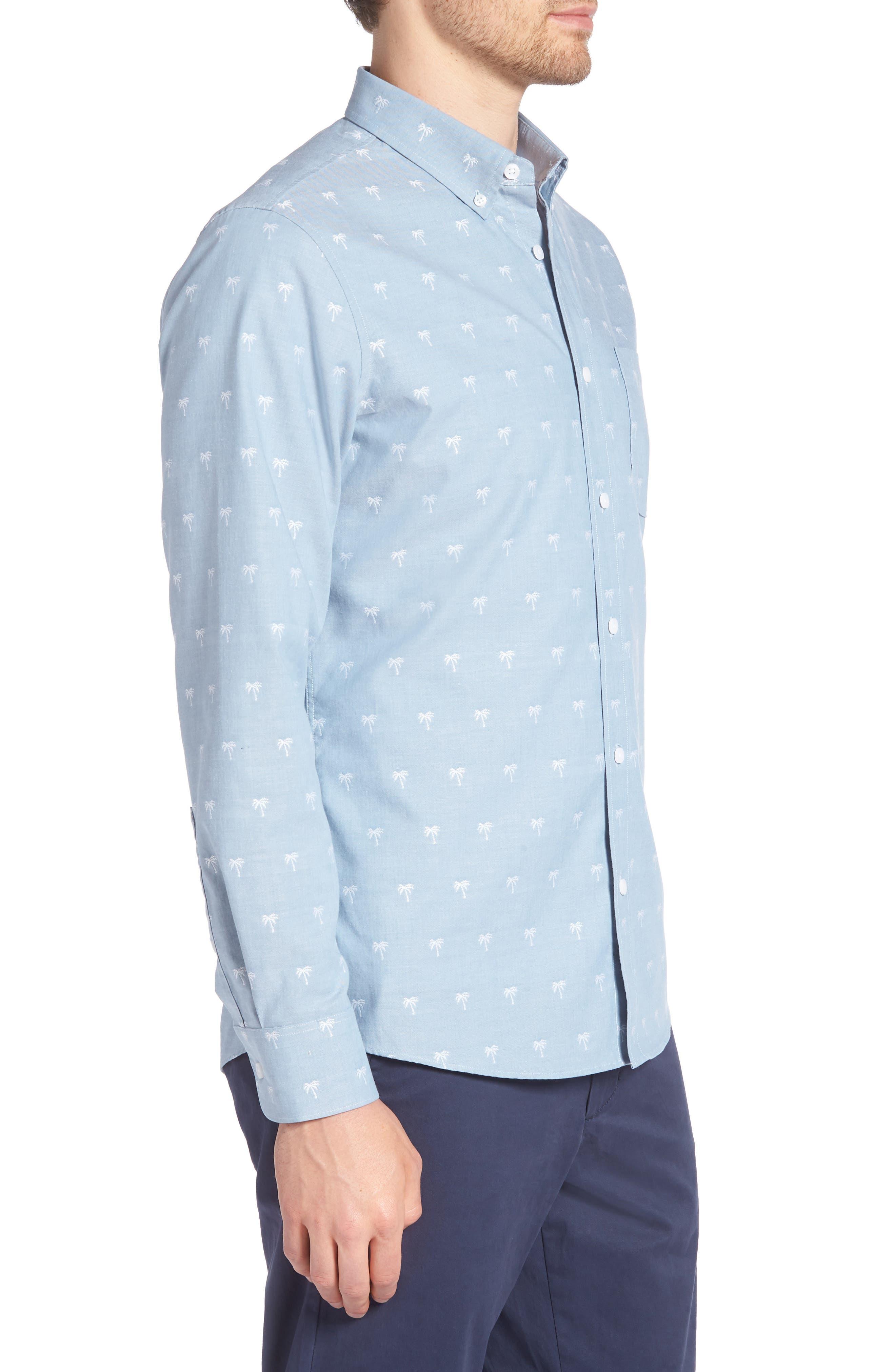 Trim Fit Print Chambray Sport Shirt,                             Alternate thumbnail 4, color,                             Blue Chambray Palm Trees