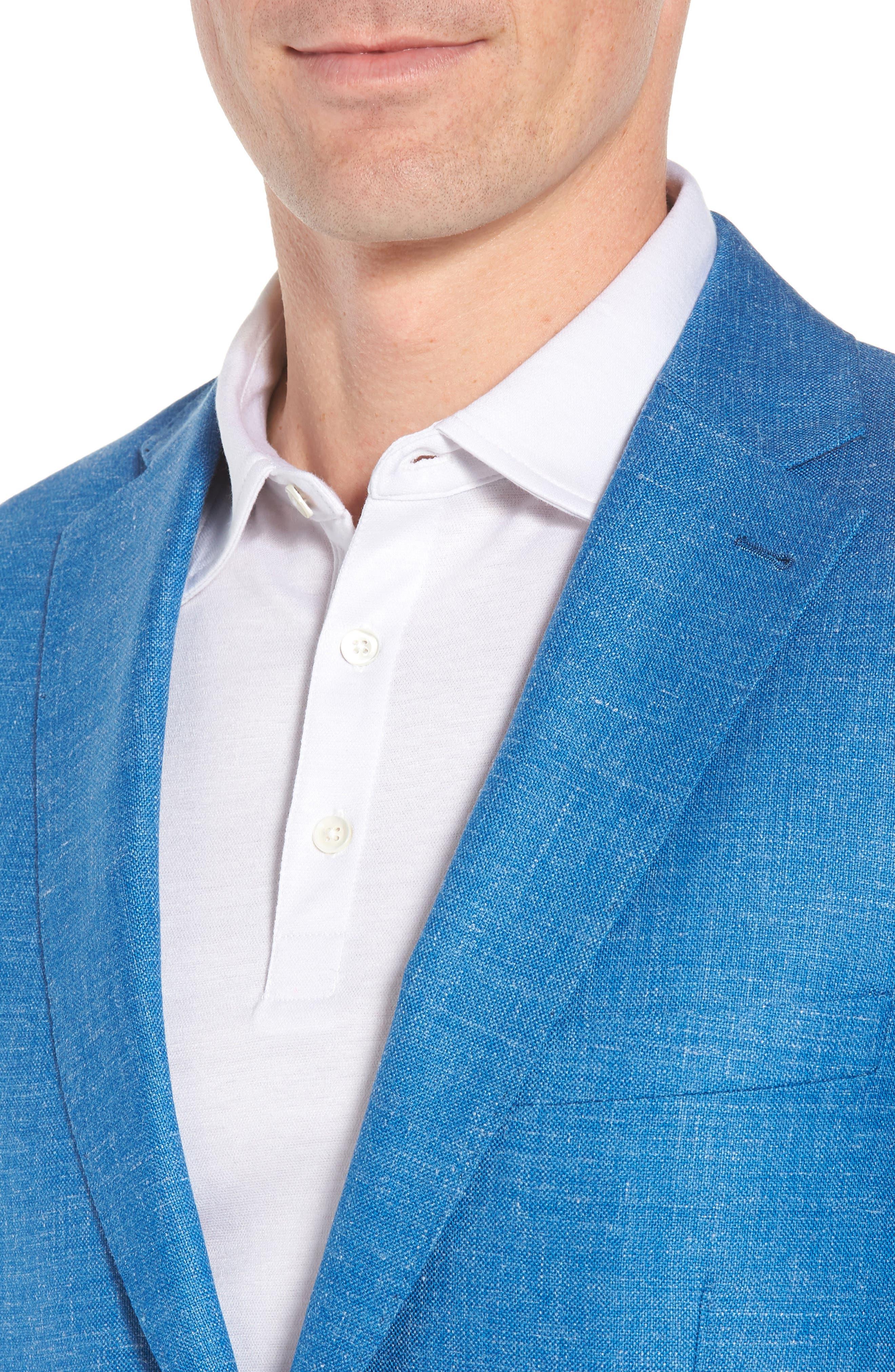 Crown Wool & Silk Blend Blazer,                             Alternate thumbnail 4, color,                             Blue Fish