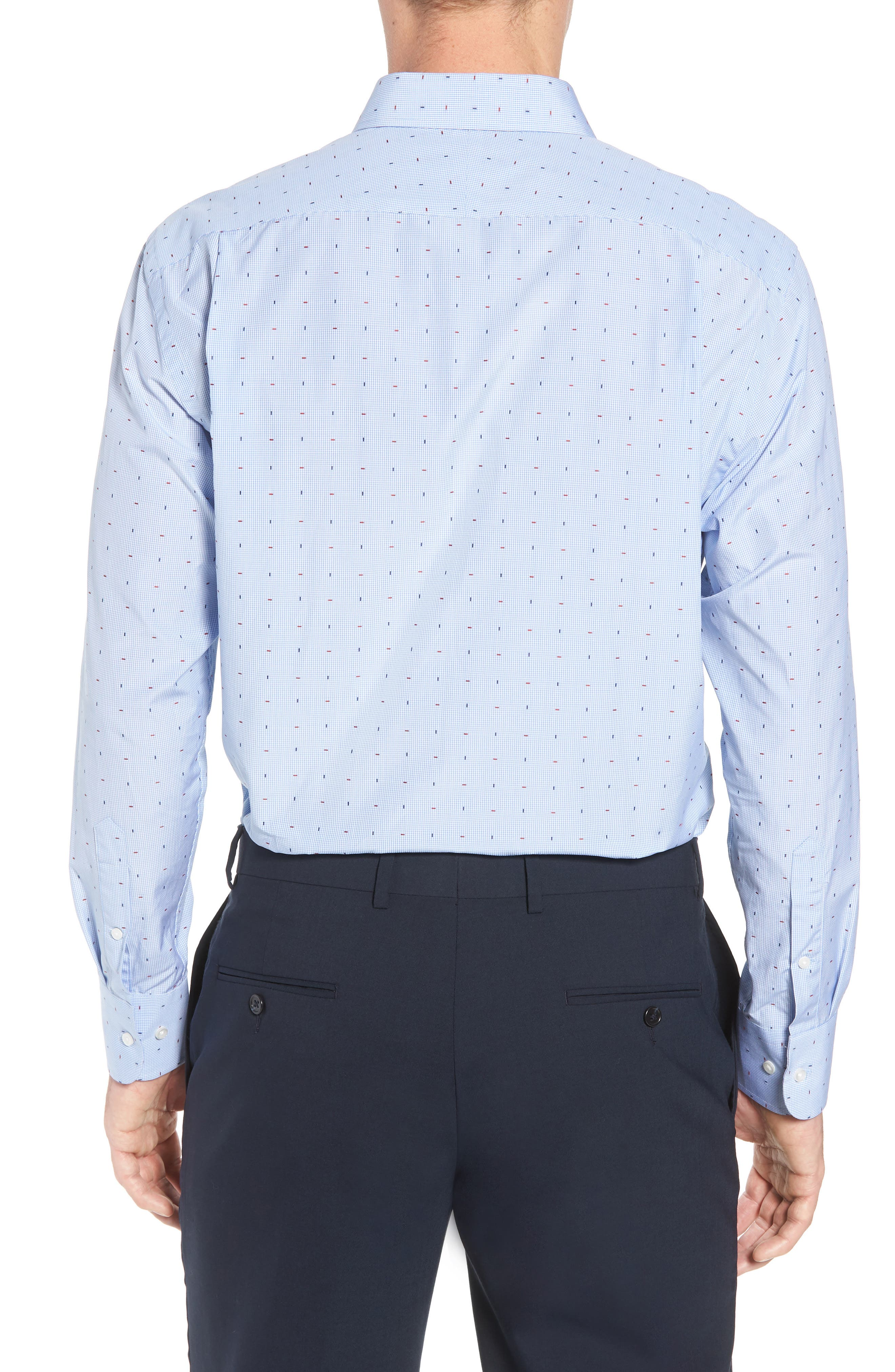 Traditional Fit Check Dress Shirt,                             Alternate thumbnail 3, color,                             Blue Bel Air