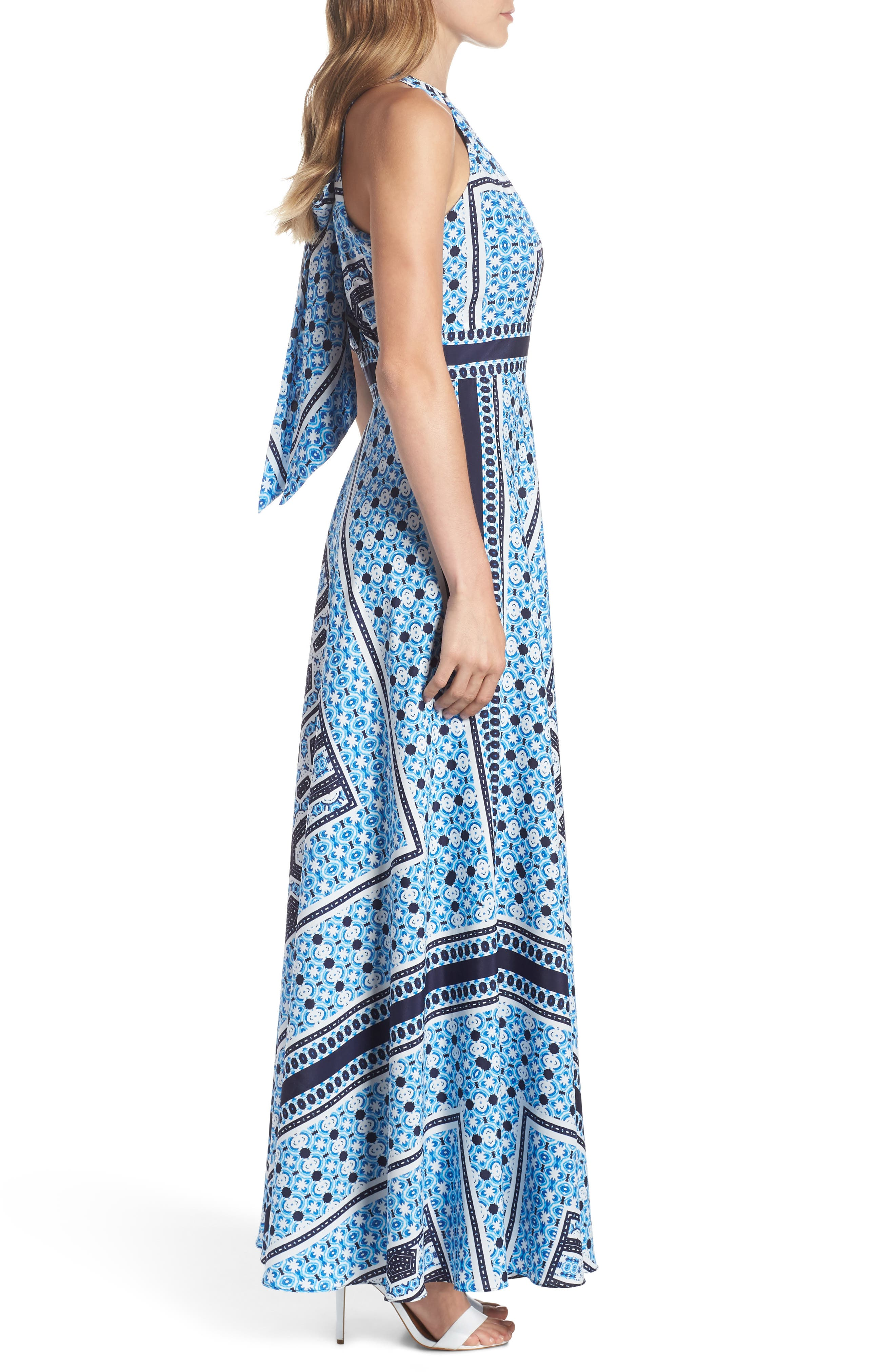 Scarf Print Halter Neck Maxi Dress,                             Alternate thumbnail 3, color,                             Blue