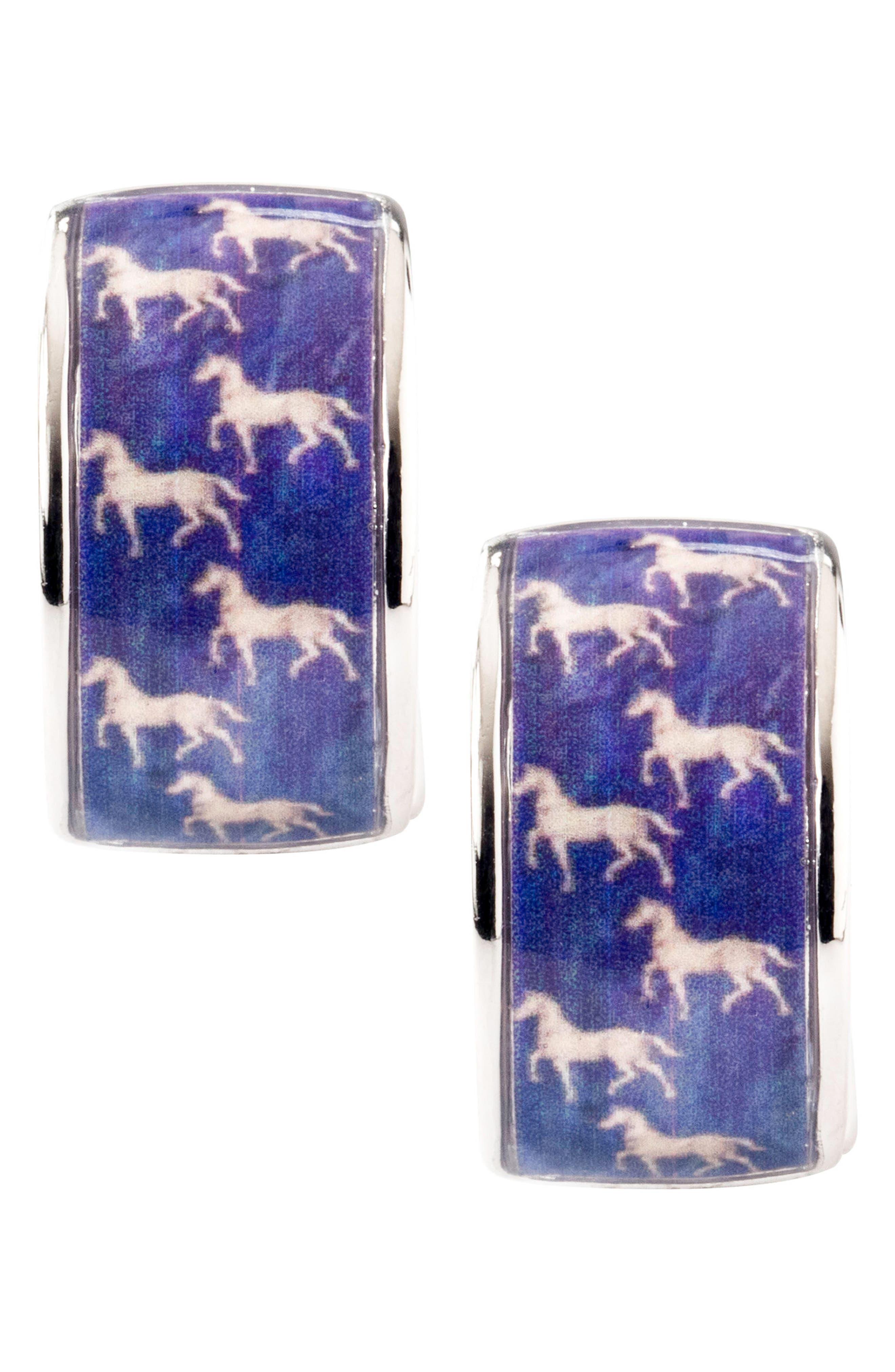 Blue Silvertone Blue Horse Earrings,                             Alternate thumbnail 4, color,                             Blue