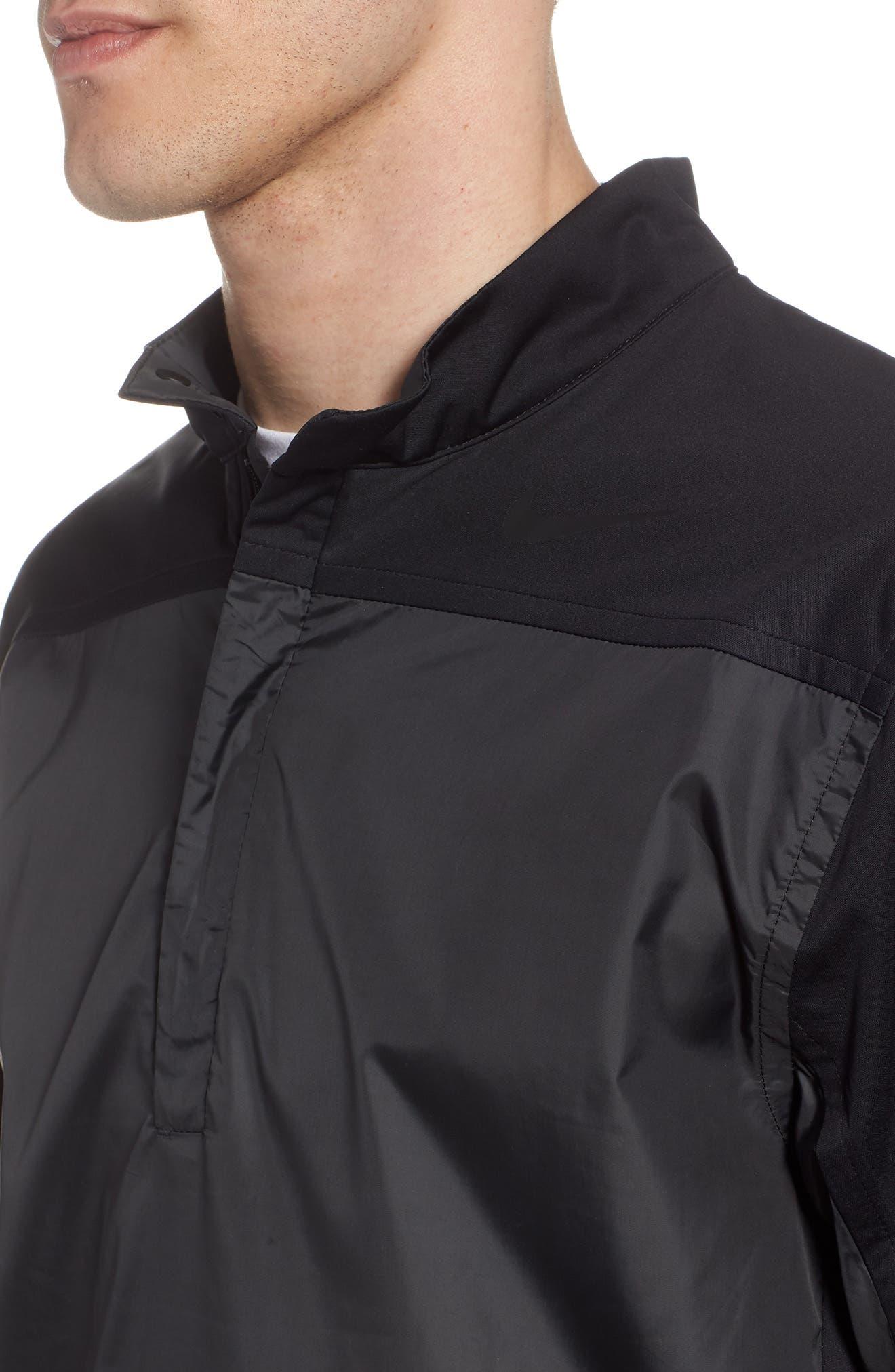 Shield Full Zip Golf Jacket,                             Alternate thumbnail 4, color,                             Black/ Silver