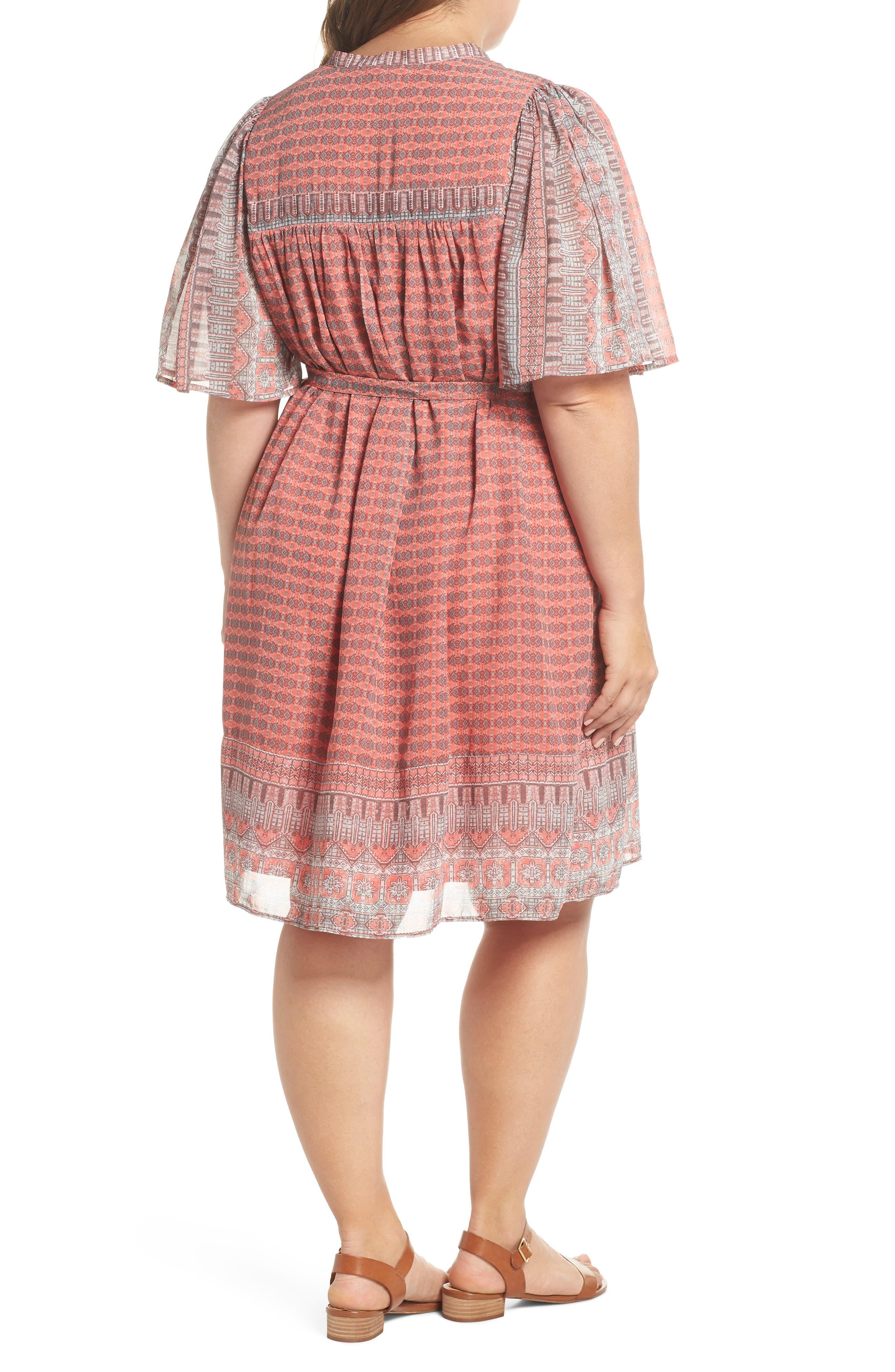 Jenna Print Peasant Dress,                             Alternate thumbnail 3, color,                             Pink Multi
