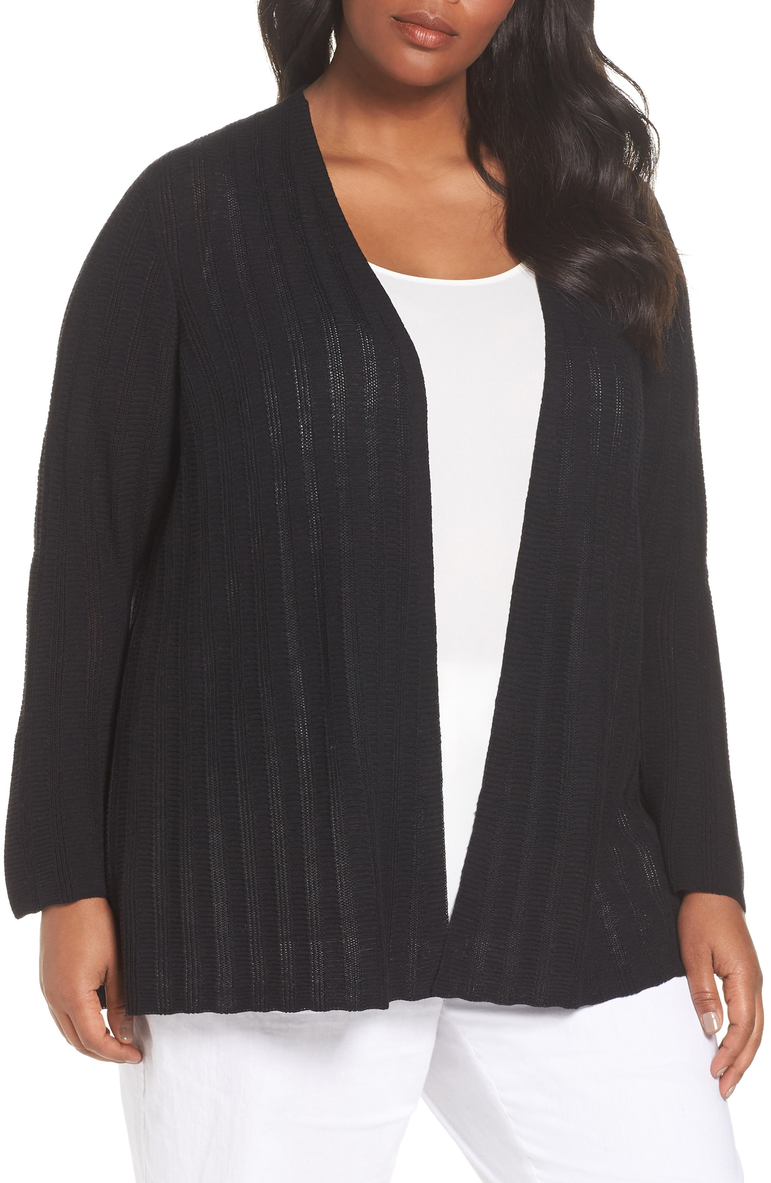 Simple Bell Sleeve Cardigan,                             Main thumbnail 1, color,                             Black