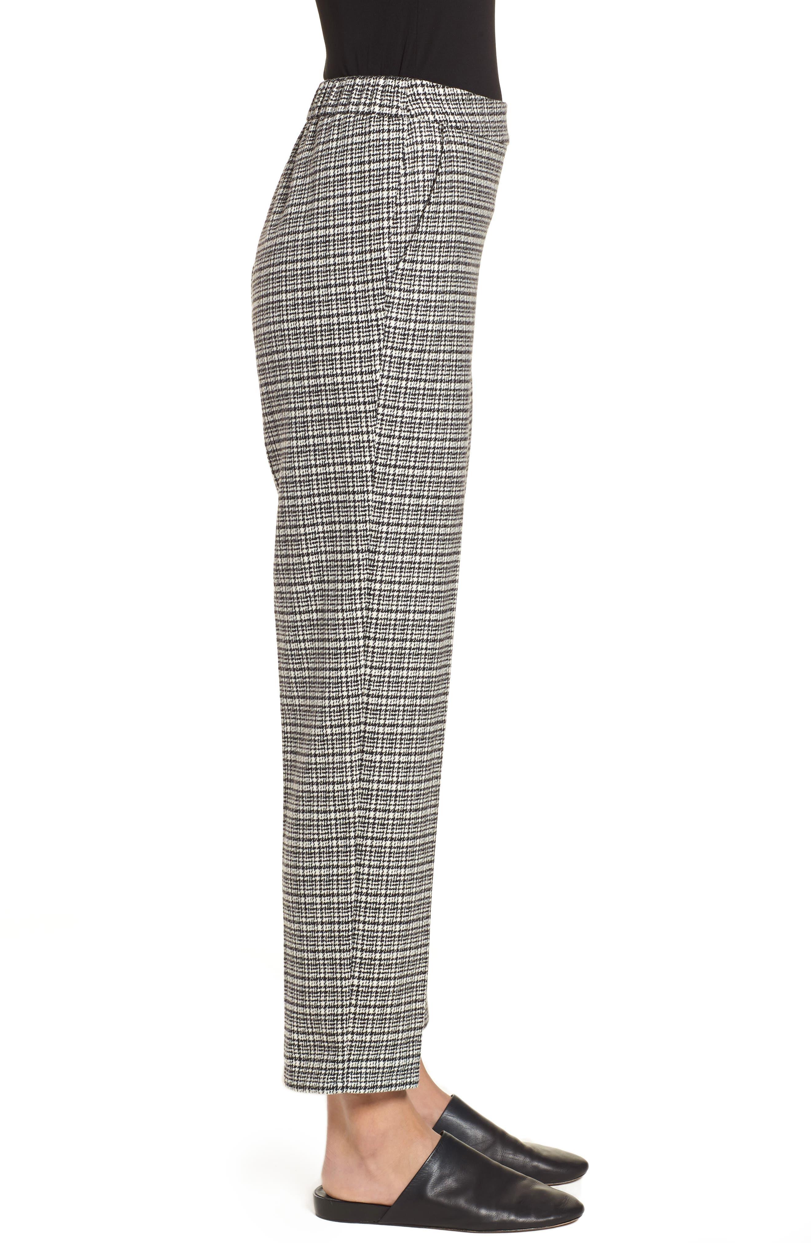 Slim Ankle Pants,                             Alternate thumbnail 3, color,                             Black/ White