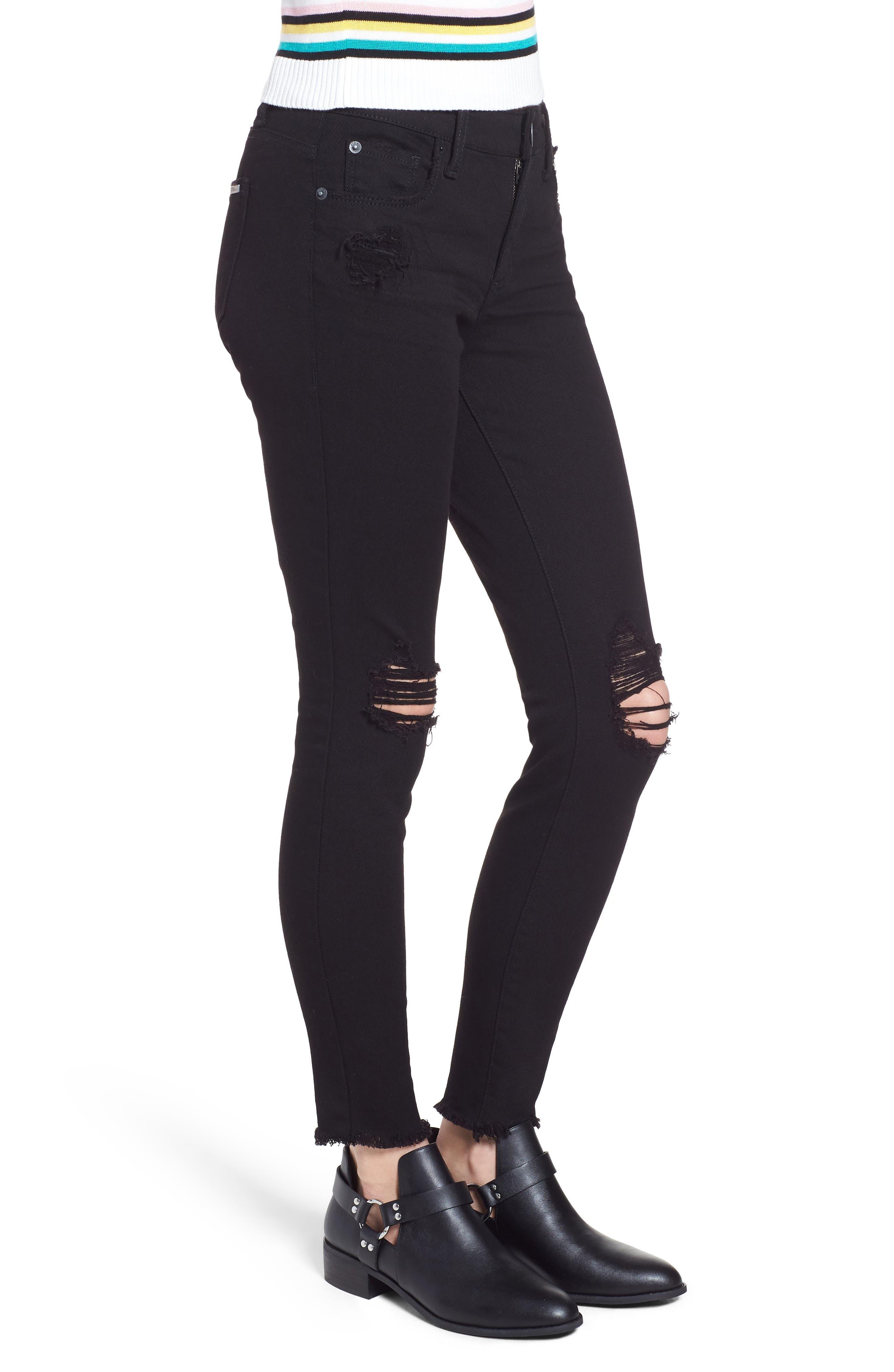 Emma Ripped Fray Hem Skinny Jeans,                             Alternate thumbnail 3, color,                             Black