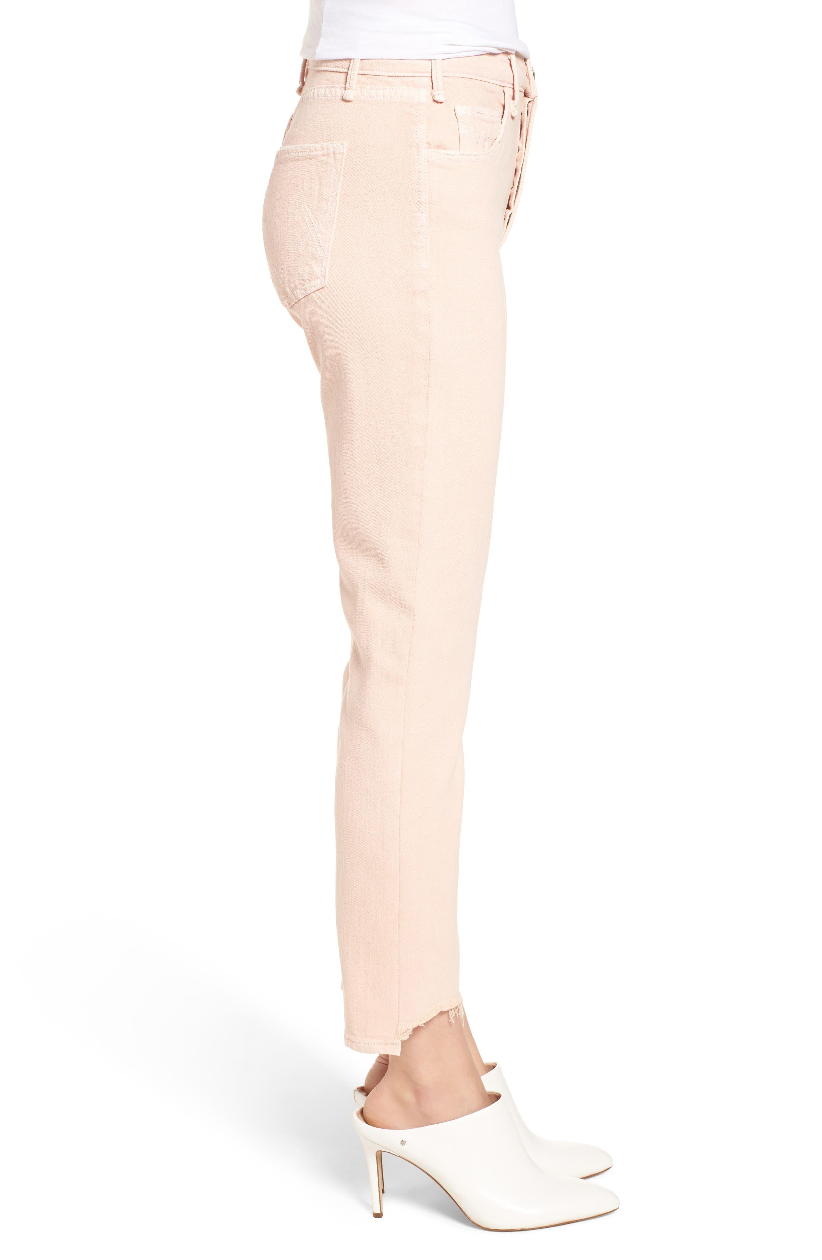 Valletta High Waist Crop Straight Leg Jeans,                             Alternate thumbnail 3, color,                             Punch Pink