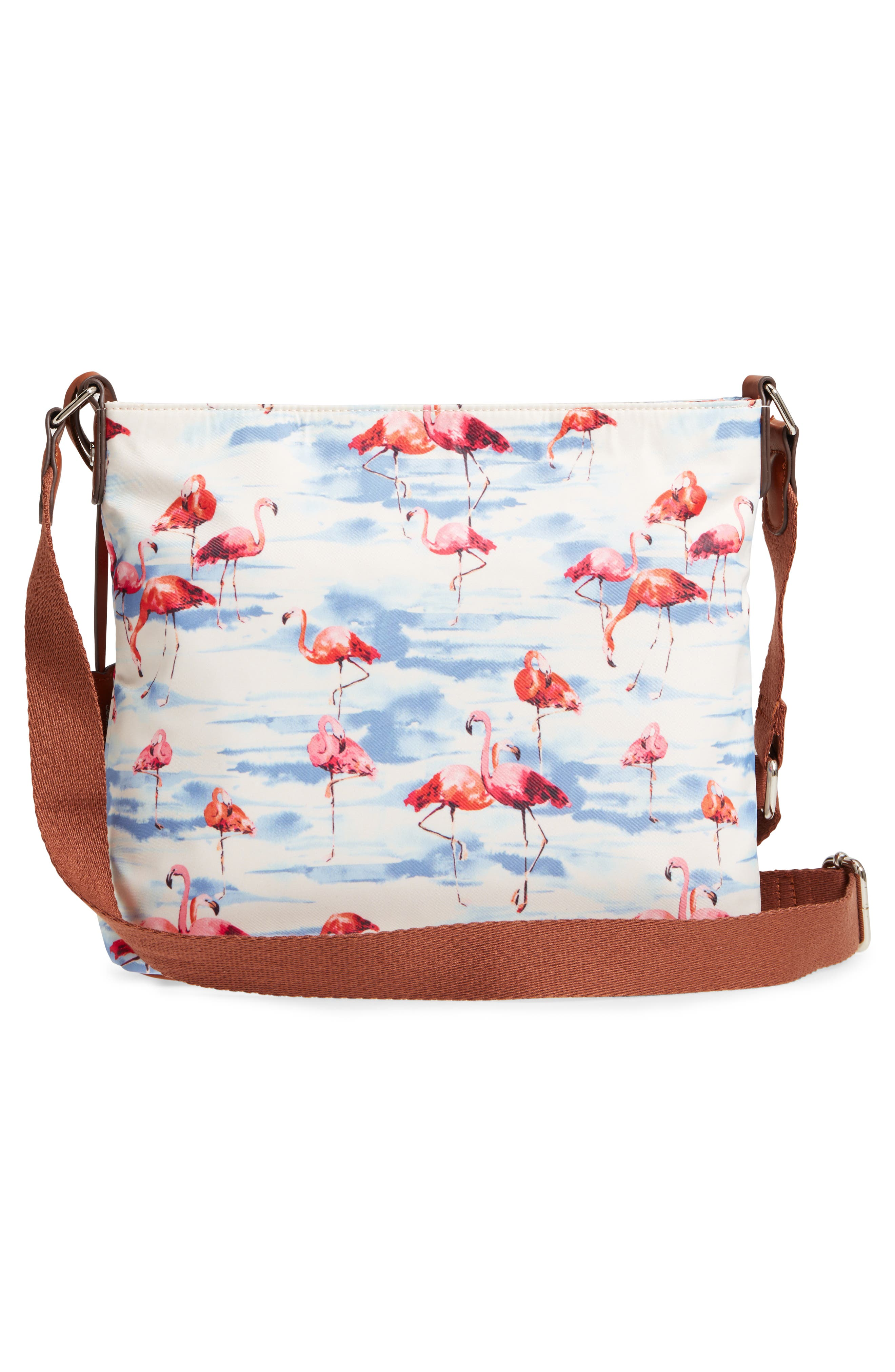 Siesta Key Waterproof Nylon Crossbody Bag,                             Alternate thumbnail 3, color,                             Flamingo Squad
