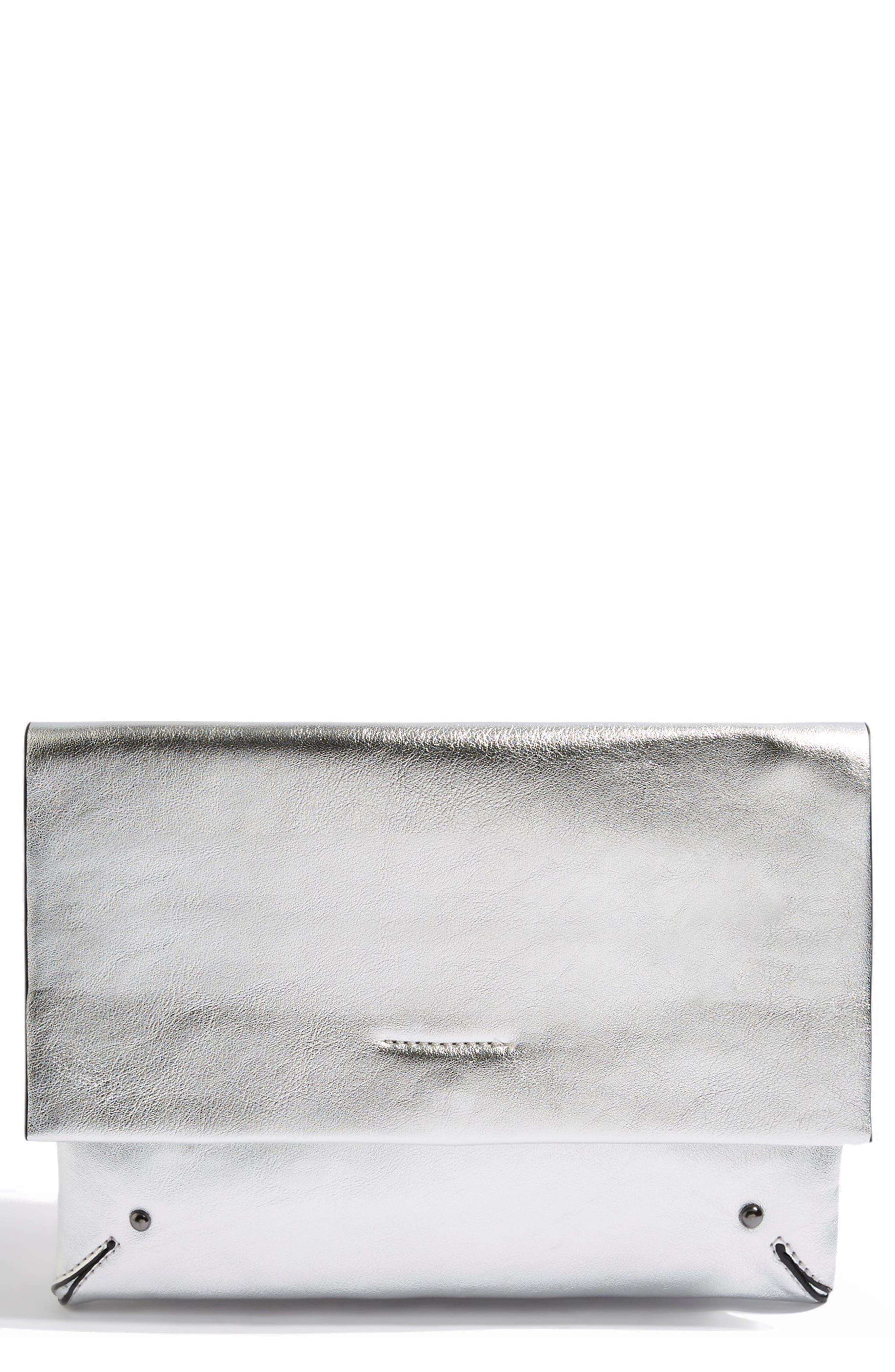 Leila Clutch Bag,                             Main thumbnail 1, color,                             Silver