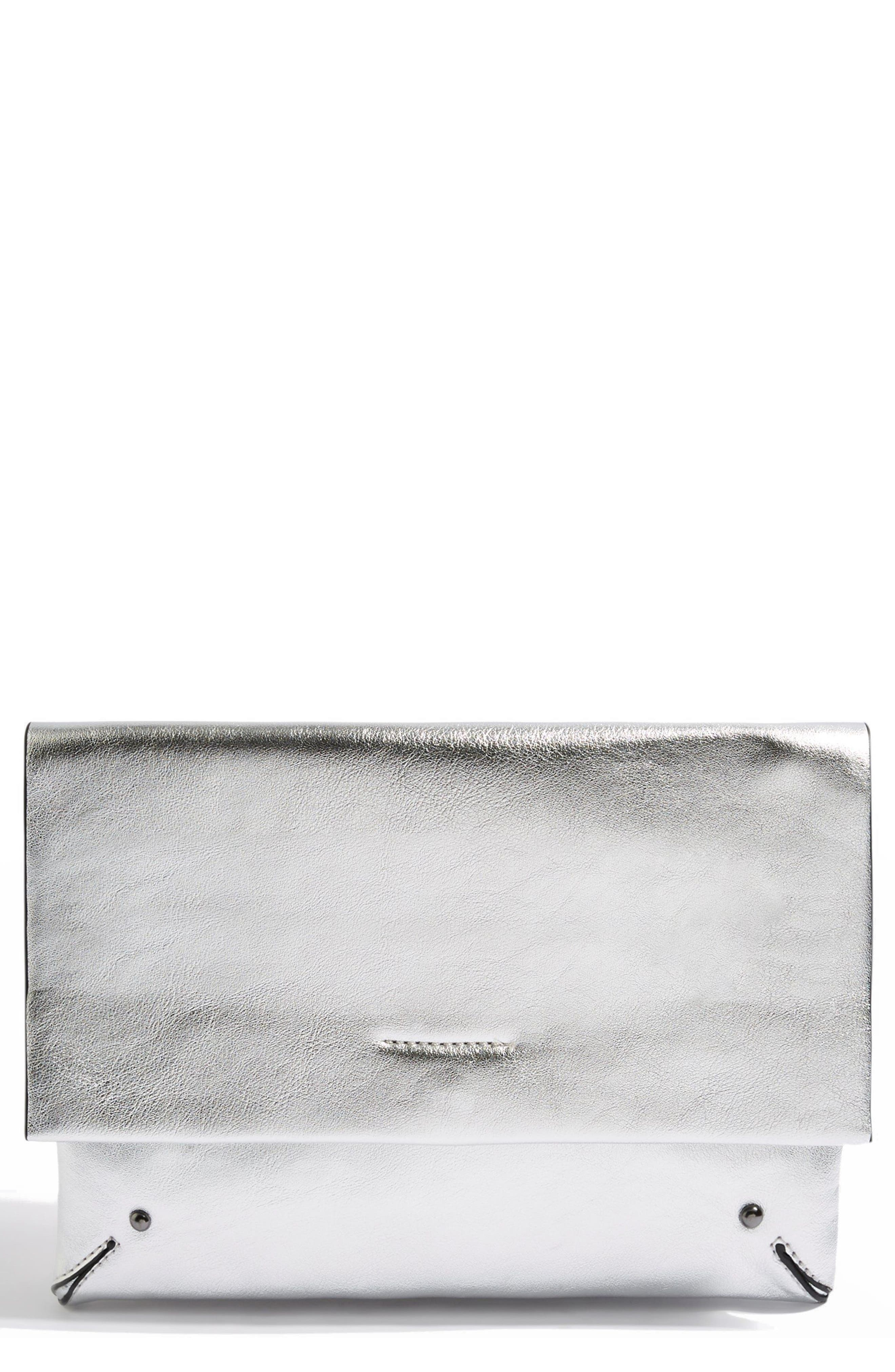 Leila Clutch Bag,                         Main,                         color, Silver