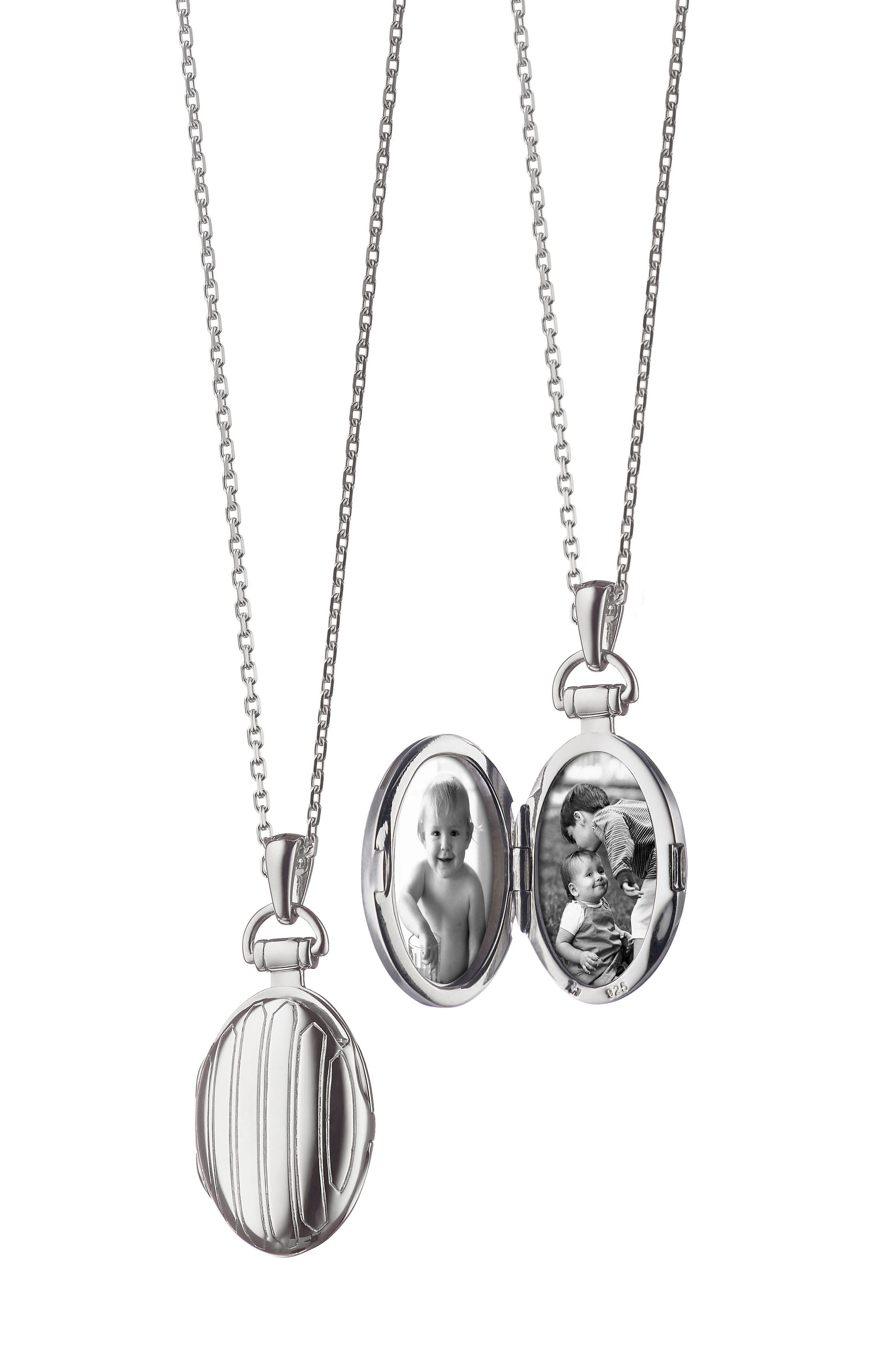 Petite Locket Necklace,                         Main,                         color, Sterling Silver