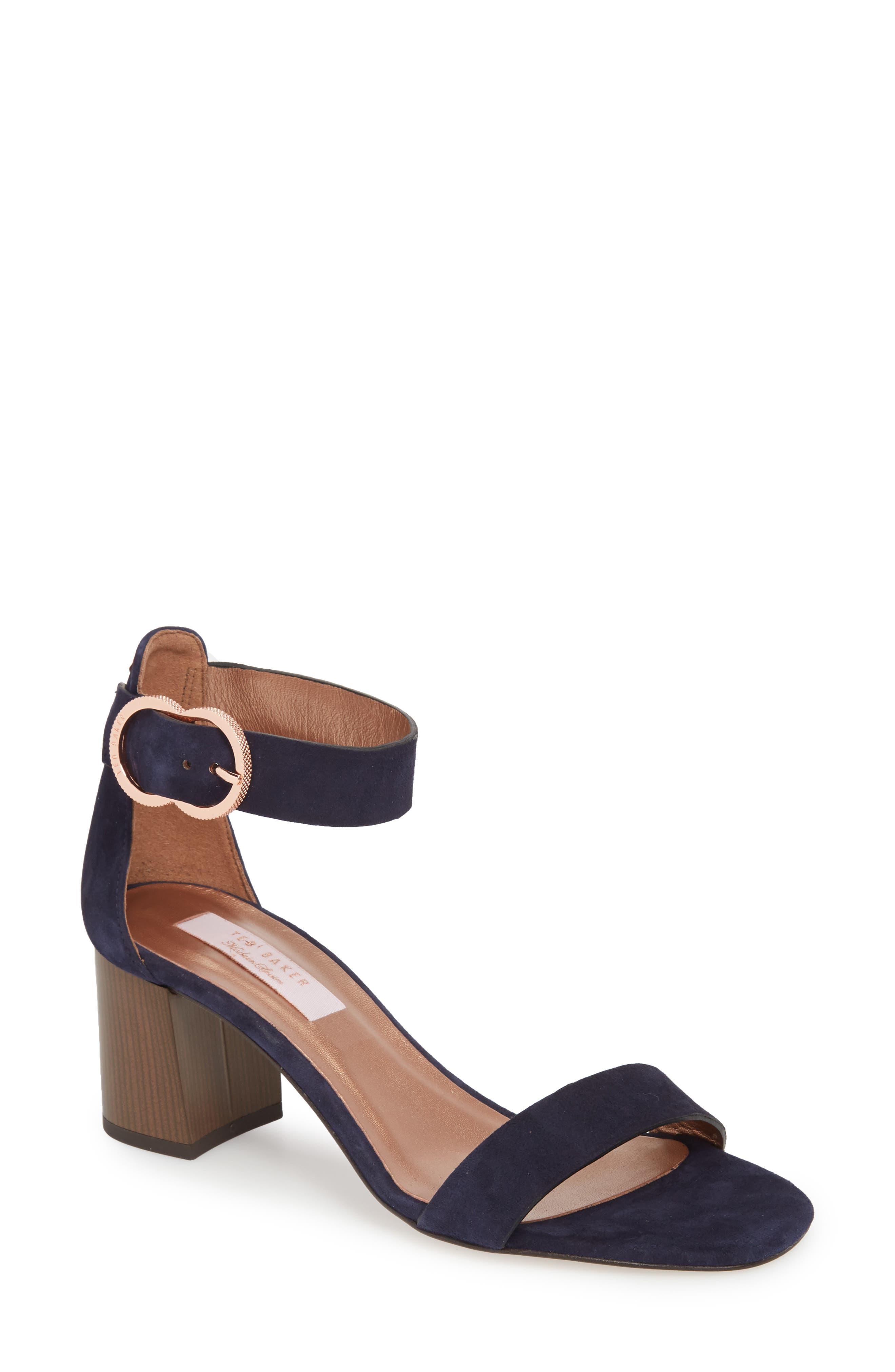 Qarvas Sandal,                         Main,                         color, Navy Suede