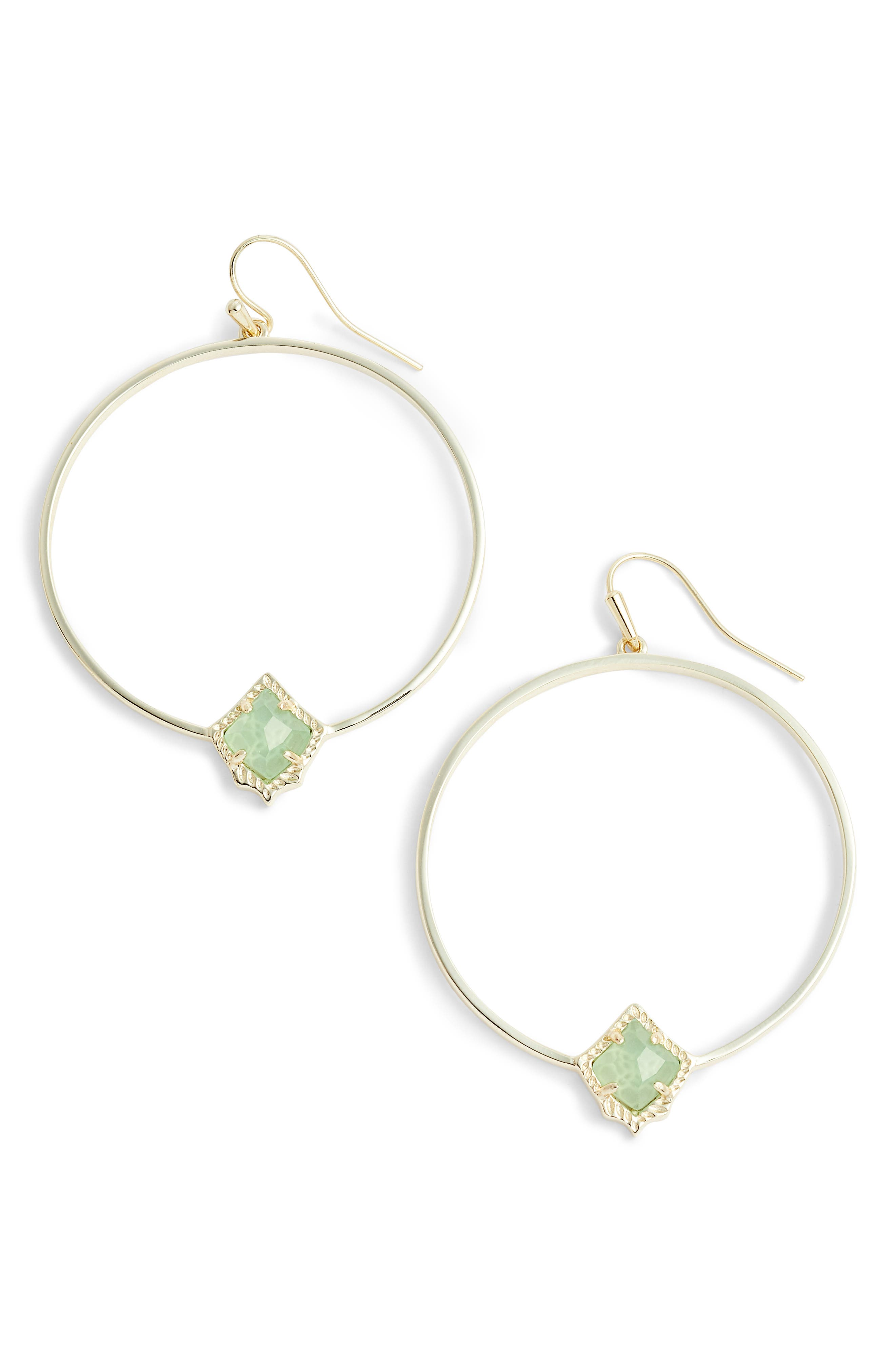 Elberta Hoop Earrings,                             Main thumbnail 1, color,                             Chalcedony/ Gold
