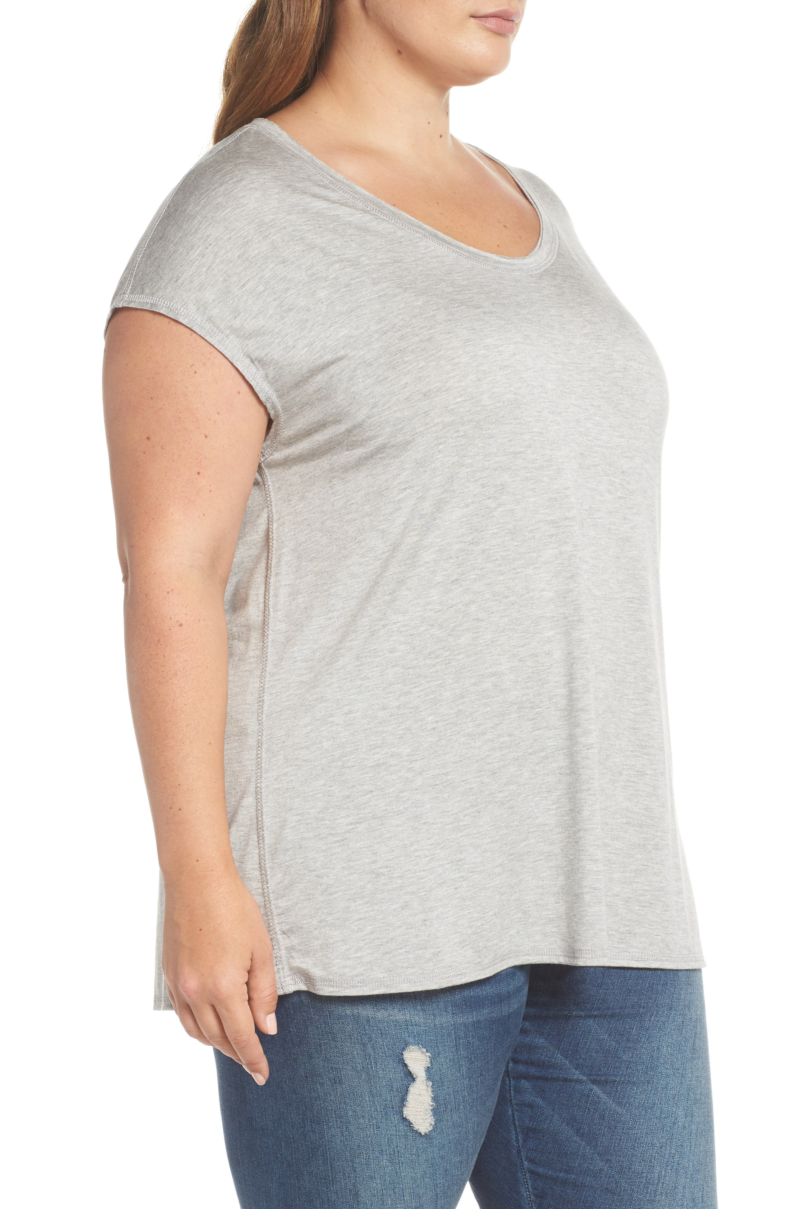 Off-Duty Stretch Knit Top,                             Alternate thumbnail 3, color,                             Grey Heather