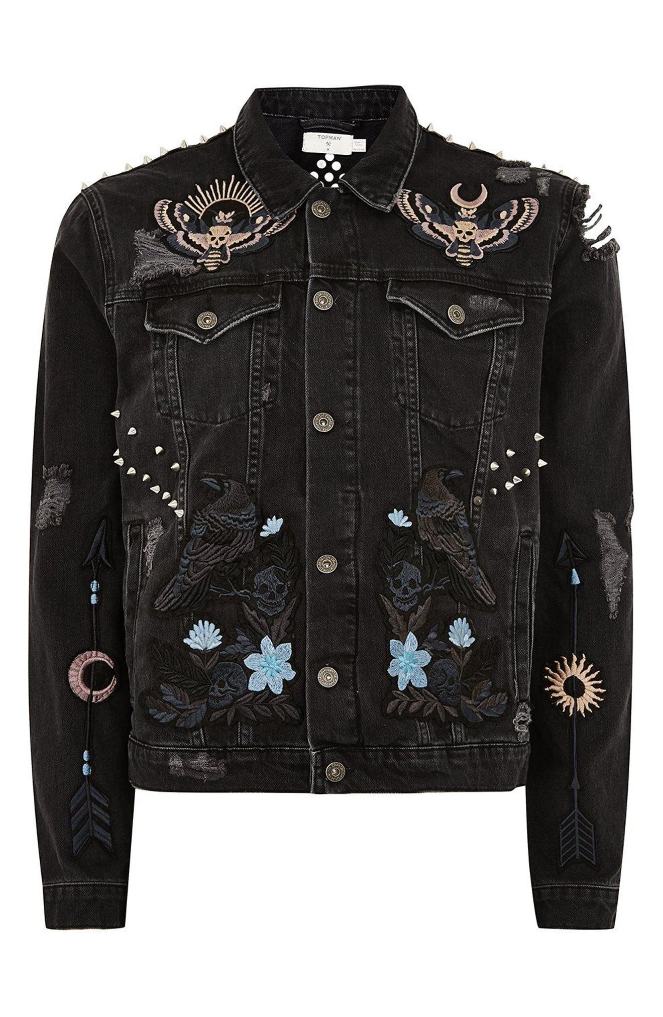 Sleepy Hollow Slim Fit Denim Jacket with Patches,                             Alternate thumbnail 4, color,                             Black Multi