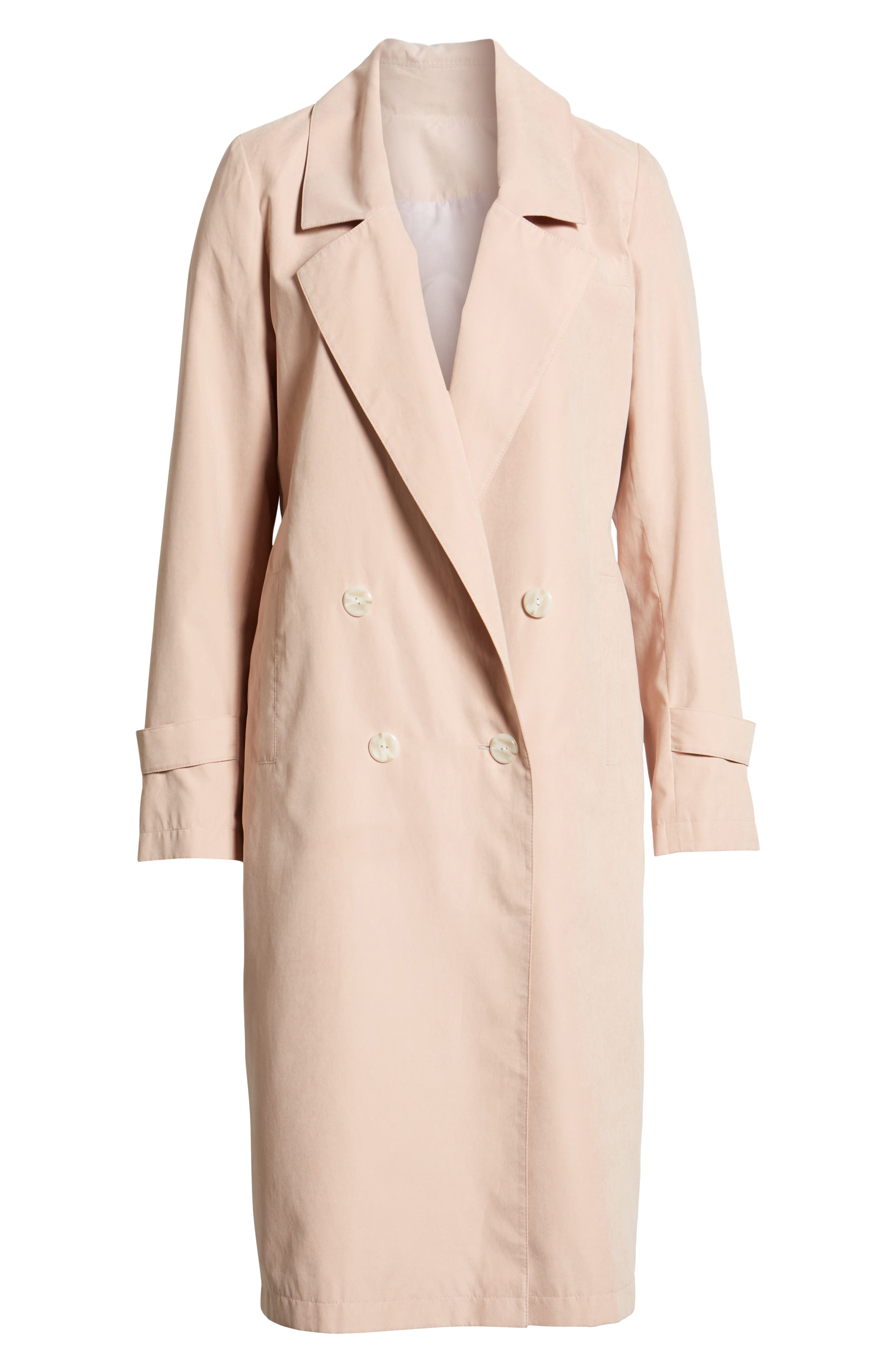 Double Breasted Trench Coat,                             Alternate thumbnail 7, color,                             Blush