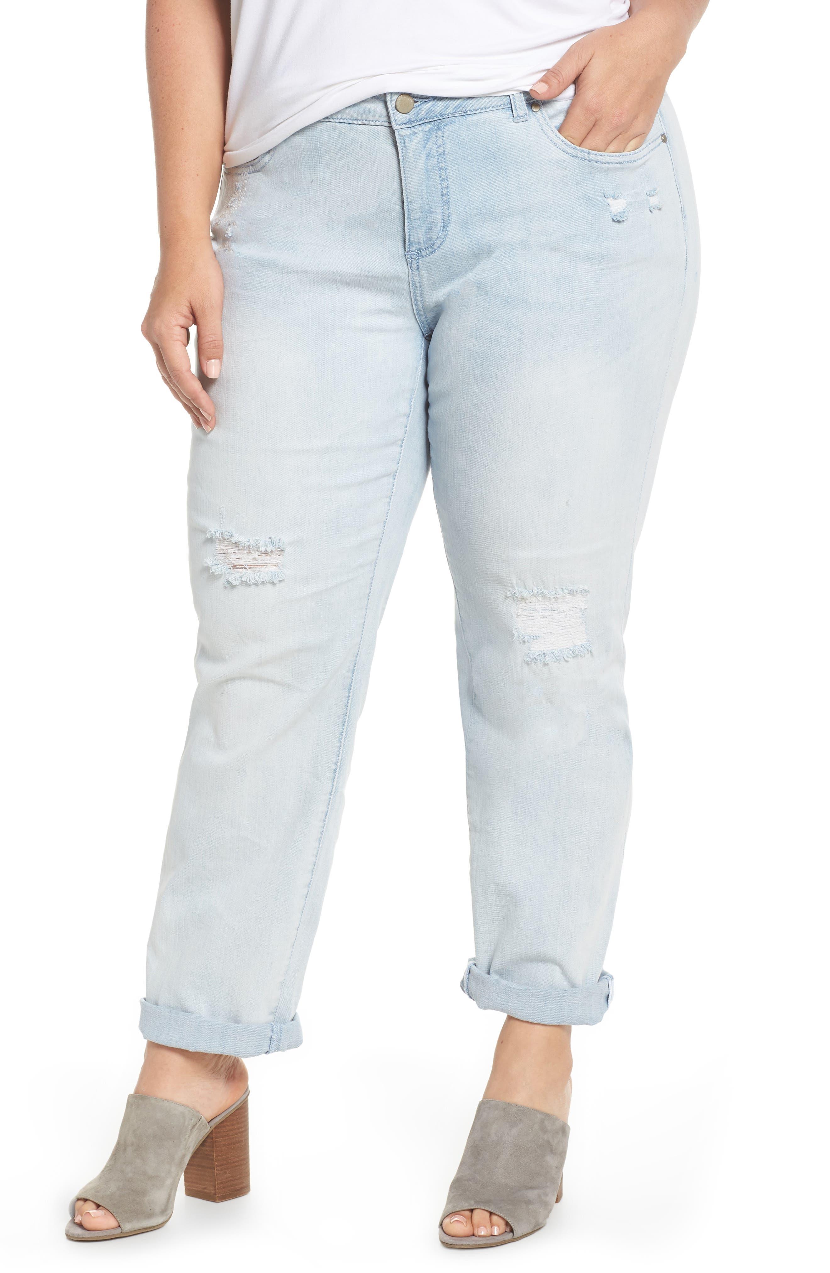 Distressed Boyfriend Jeans,                         Main,                         color, Platinum Light Wash
