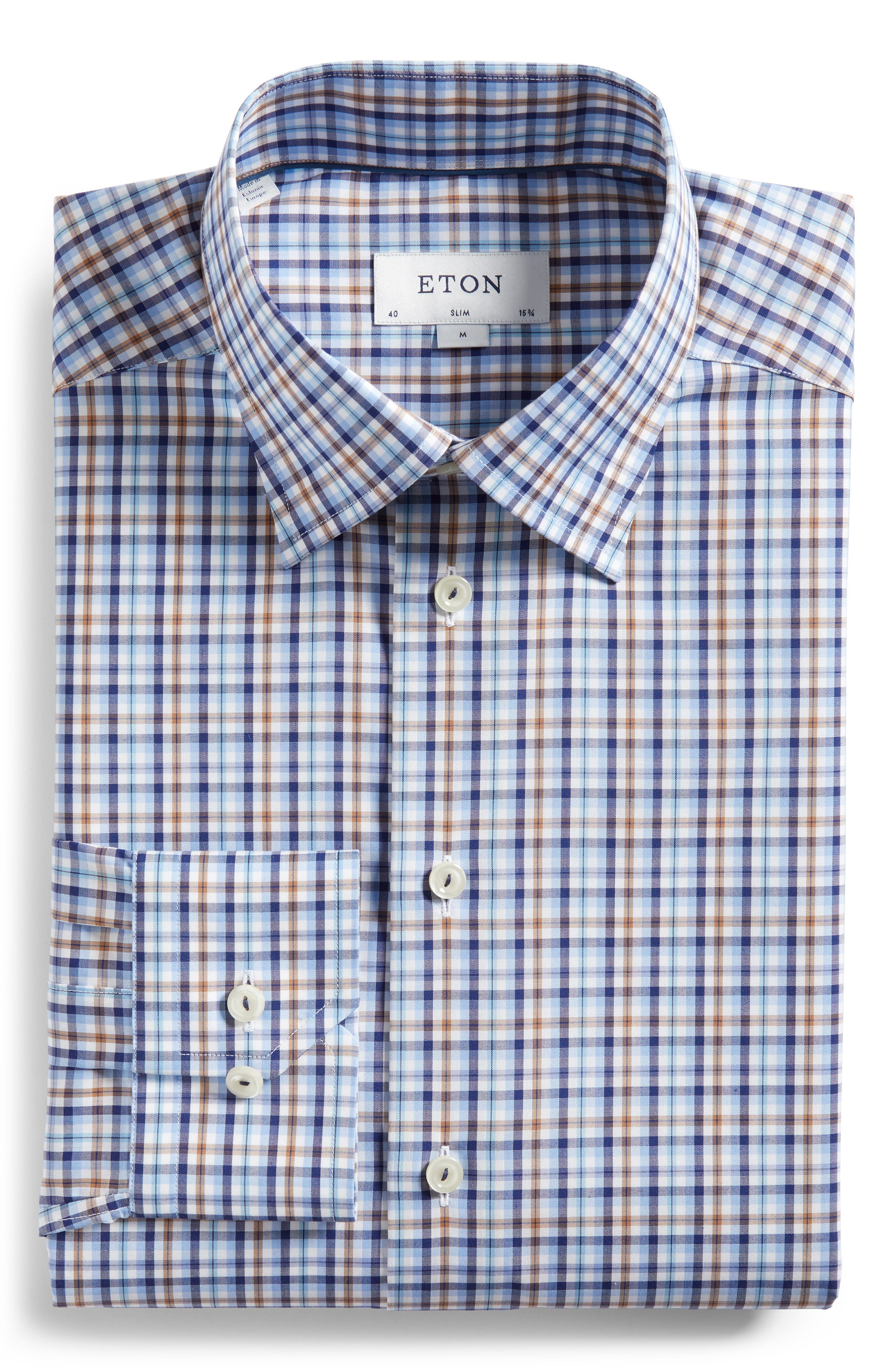 Contemporary Fit Plaid Dress Shirt,                             Alternate thumbnail 6, color,                             Blue