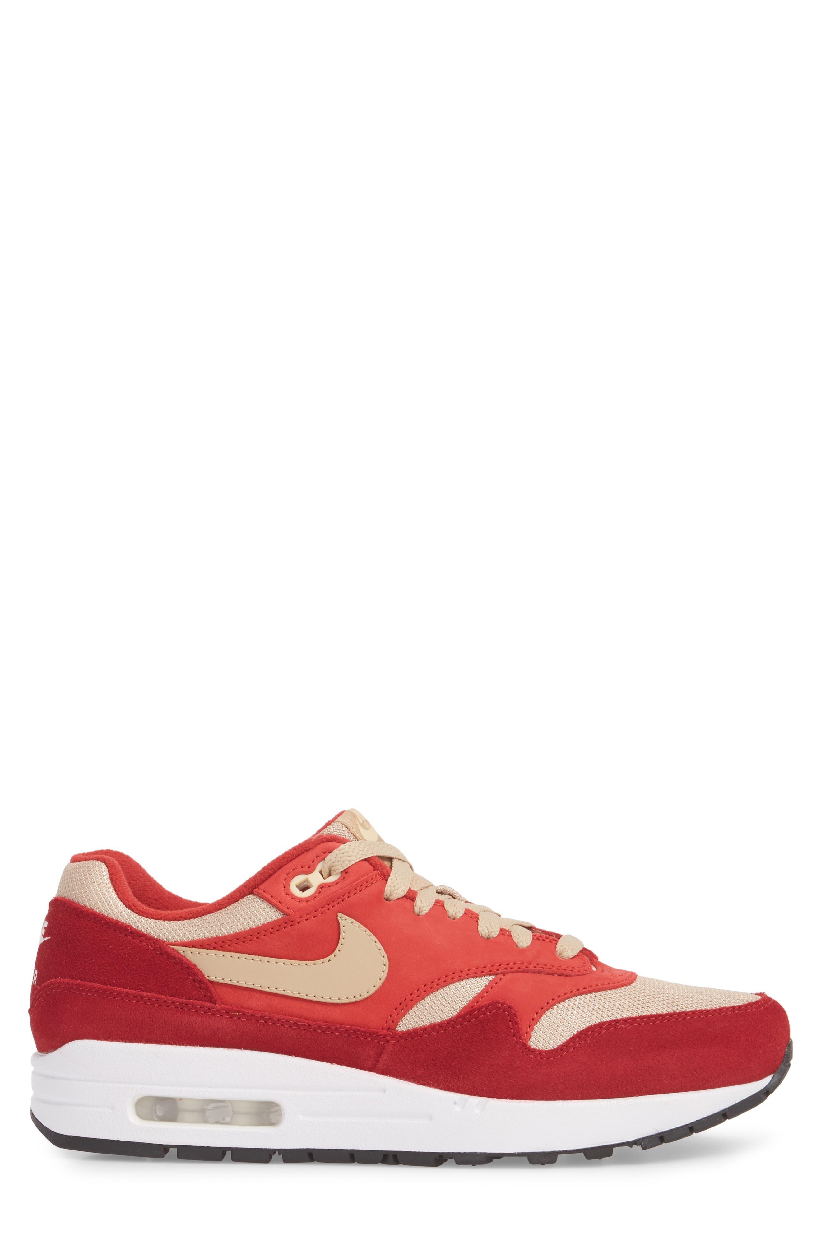 Air Max 1 Premium Retro Sneaker,                             Alternate thumbnail 3, color,                             Red/ Mushroom-Red-Vanilla