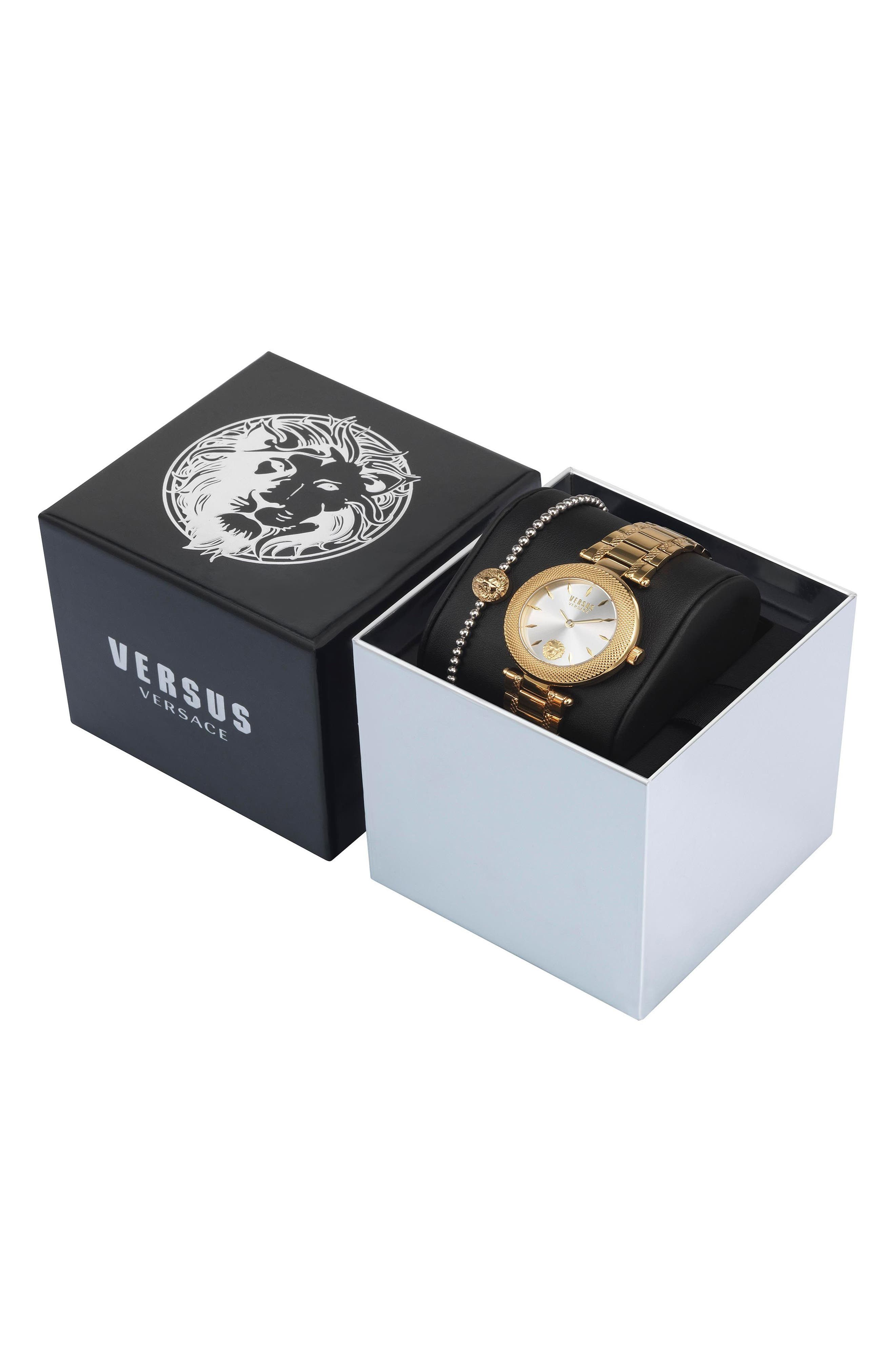 VERSUS by Versace Bricklane Watch Set, 36mm,                             Alternate thumbnail 3, color,                             Gold/ Silver