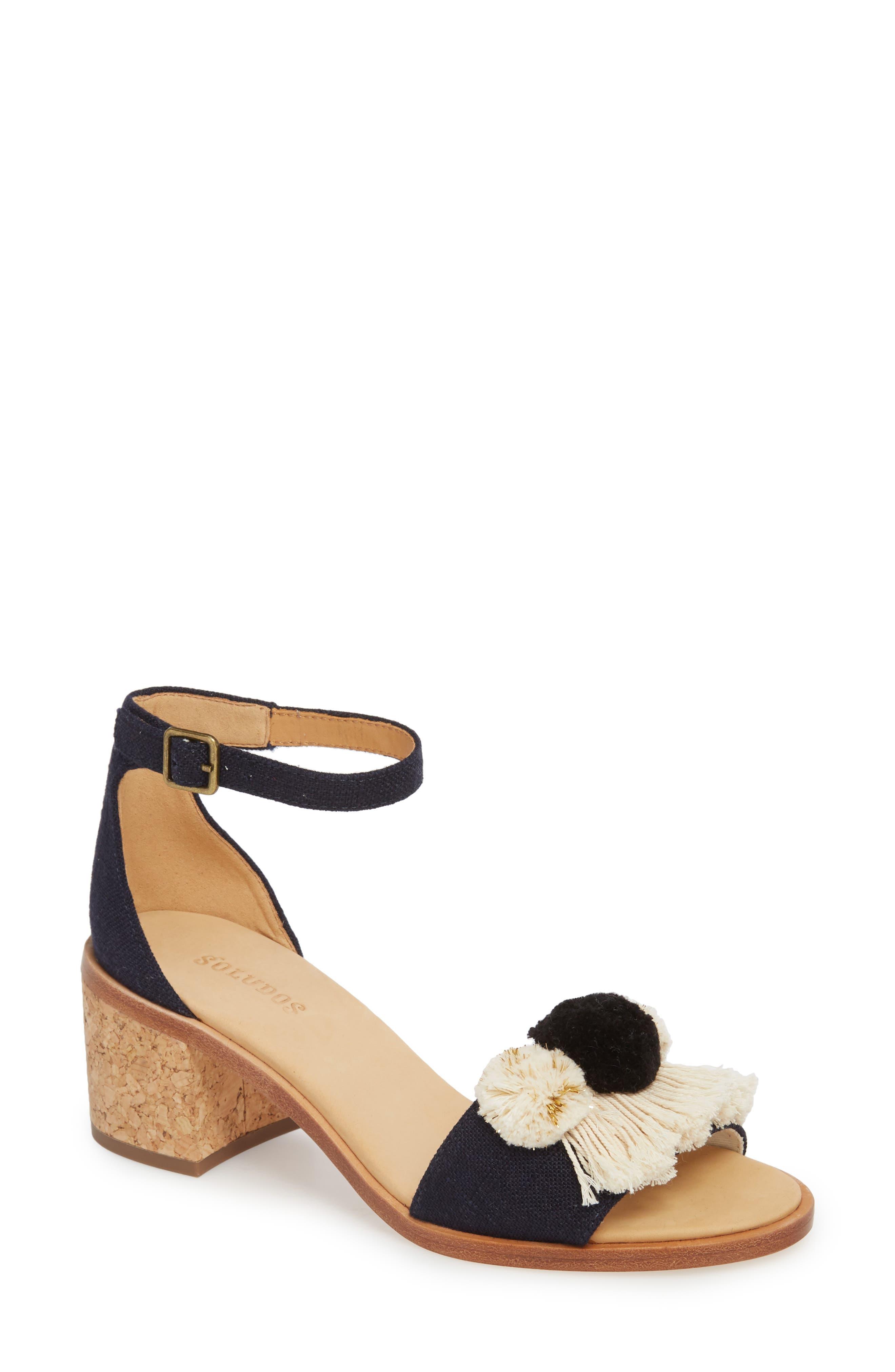 Capri Pom Pom Heel Sandal,                             Main thumbnail 1, color,                             Eclipse