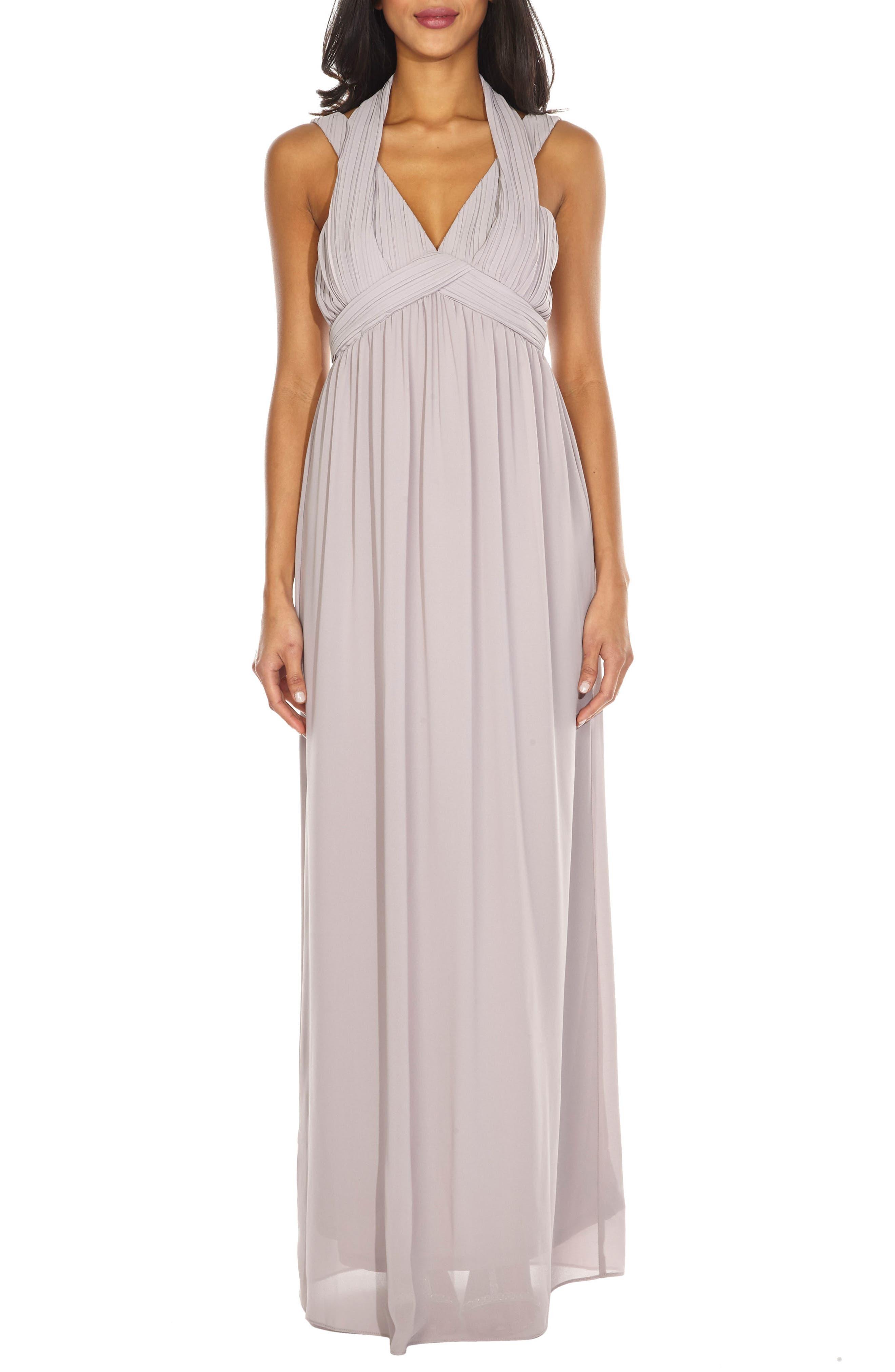 Arley Chiffon Gown,                         Main,                         color, Lavender Fog