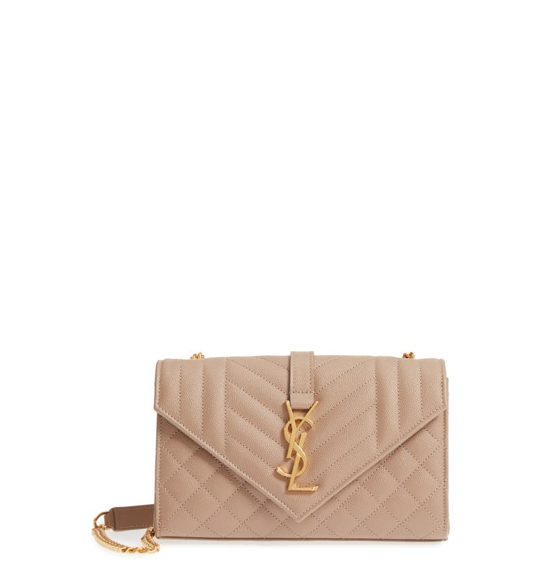 Saint Laurent Small Cassandra Leather Shoulder Bag - Beige In Light Taupe   Light Taupe e6ef7dd96d