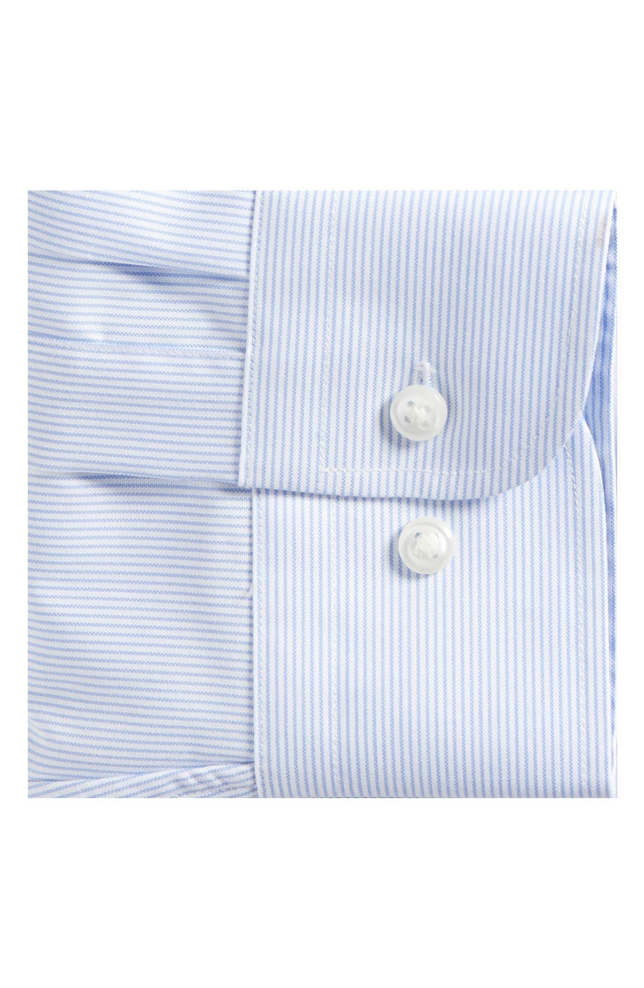 Trim Fit Non-Iron Stripe Dress Shirt,                             Alternate thumbnail 5, color,                             Blue Vista