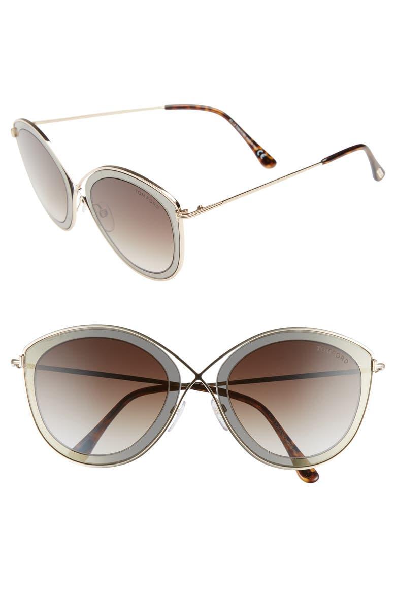 3b9e29e5145ec Tom Ford Sascha 55Mm Butterfly Sunglasses - Dark Brown  Gradient Roviex