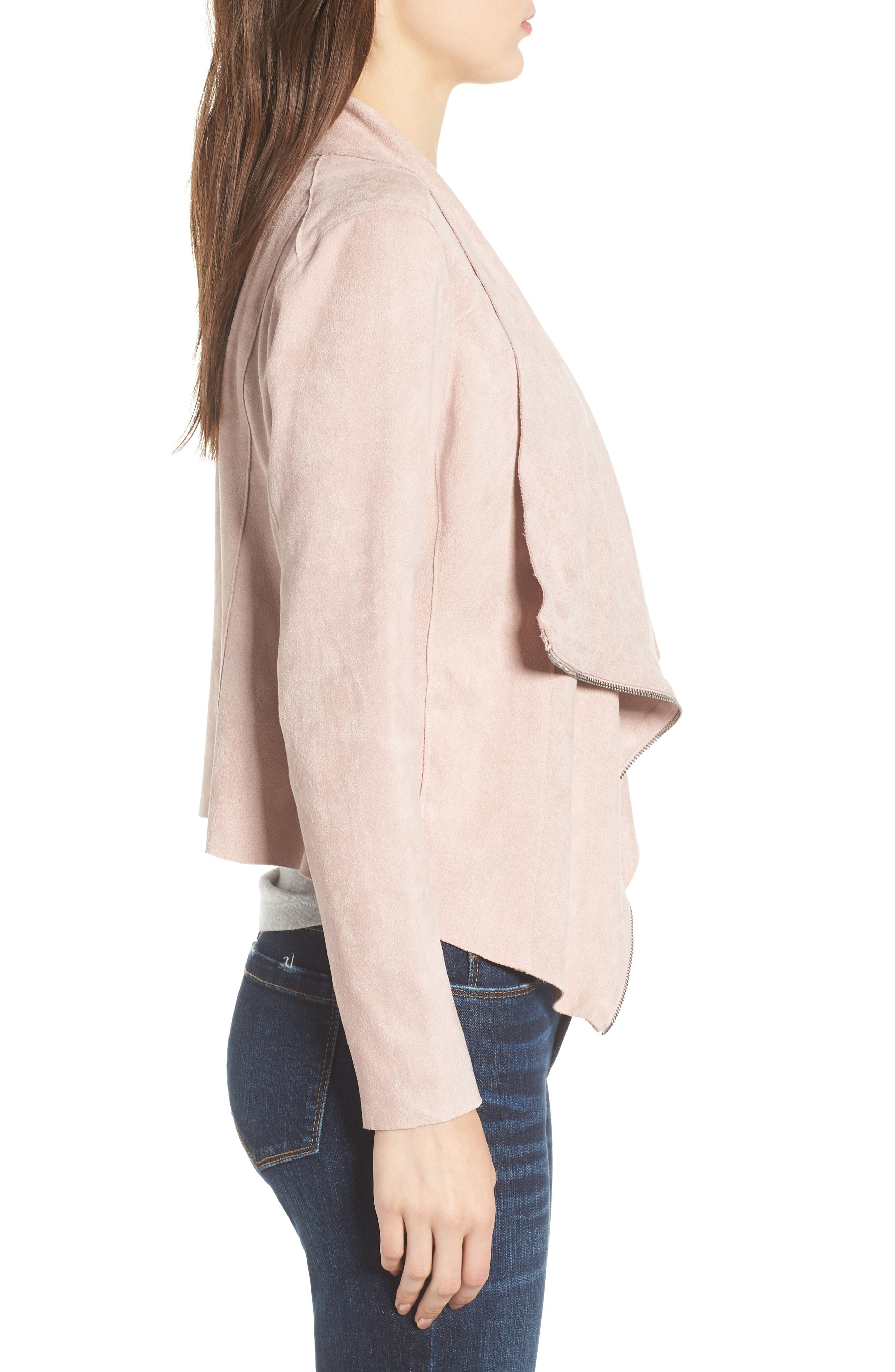 Drape Front Faux Suede Jacket,                             Alternate thumbnail 3, color,                             Pink Adobe