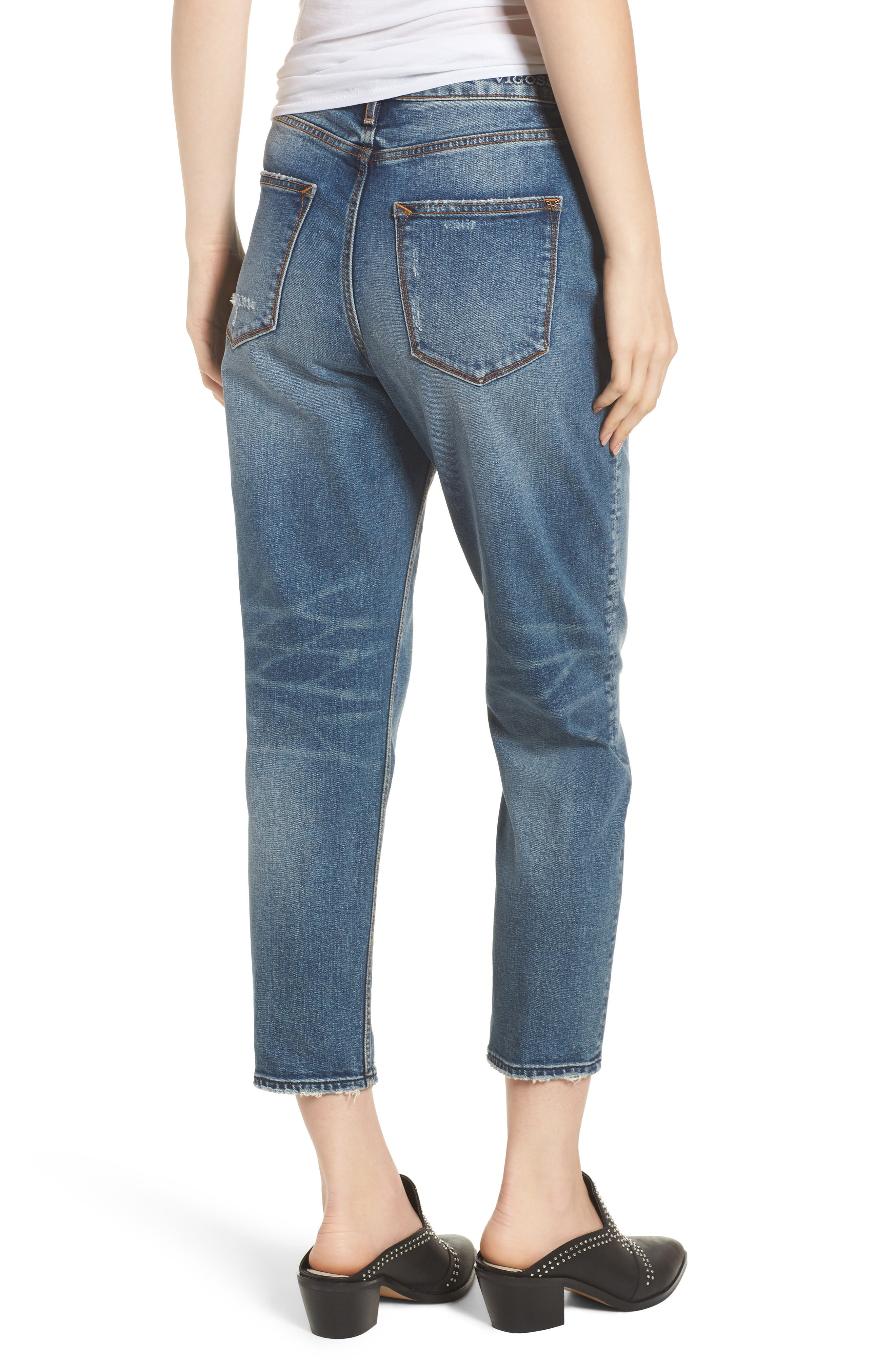 Friday Distressed Tapered Boyfriend Jeans,                             Alternate thumbnail 2, color,                             Medium Wash