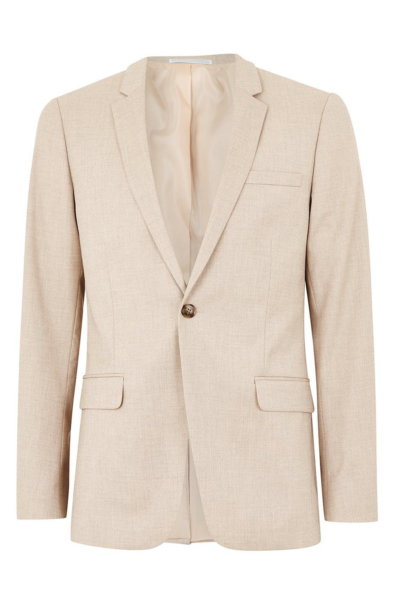 Skinny Fit Check Suit Jacket,                             Alternate thumbnail 4, color,                             Stone