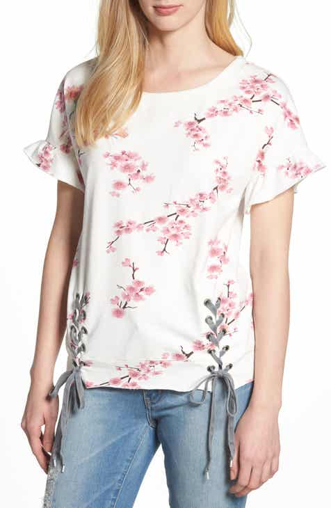 a343ed3937a Billy T Cherry Blossom Short Sleeve Lace-Up Sweatshirt